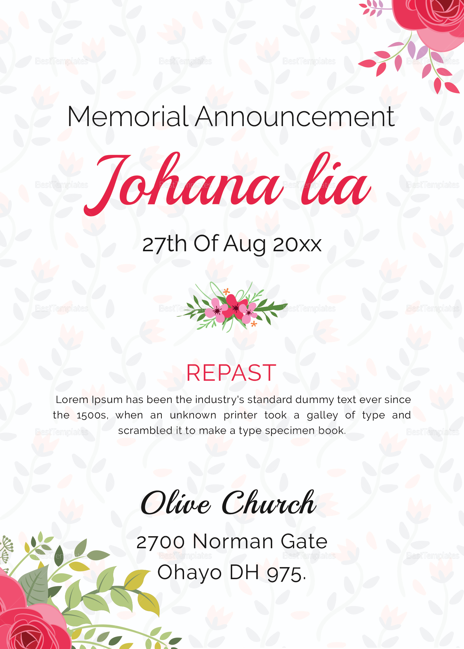 Mother Funeral Announcement Template