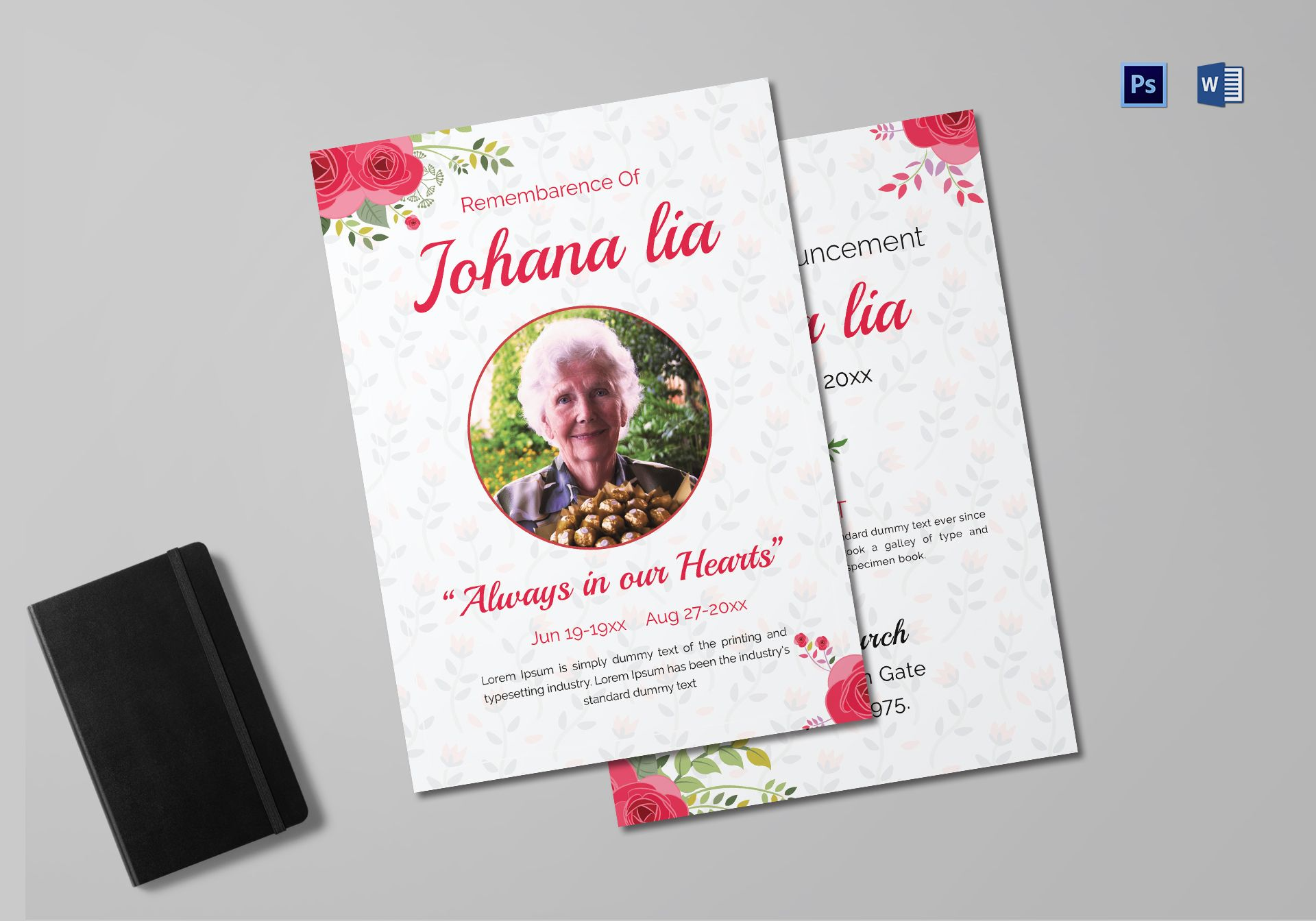 Printable Mother Funeral Announcement Template