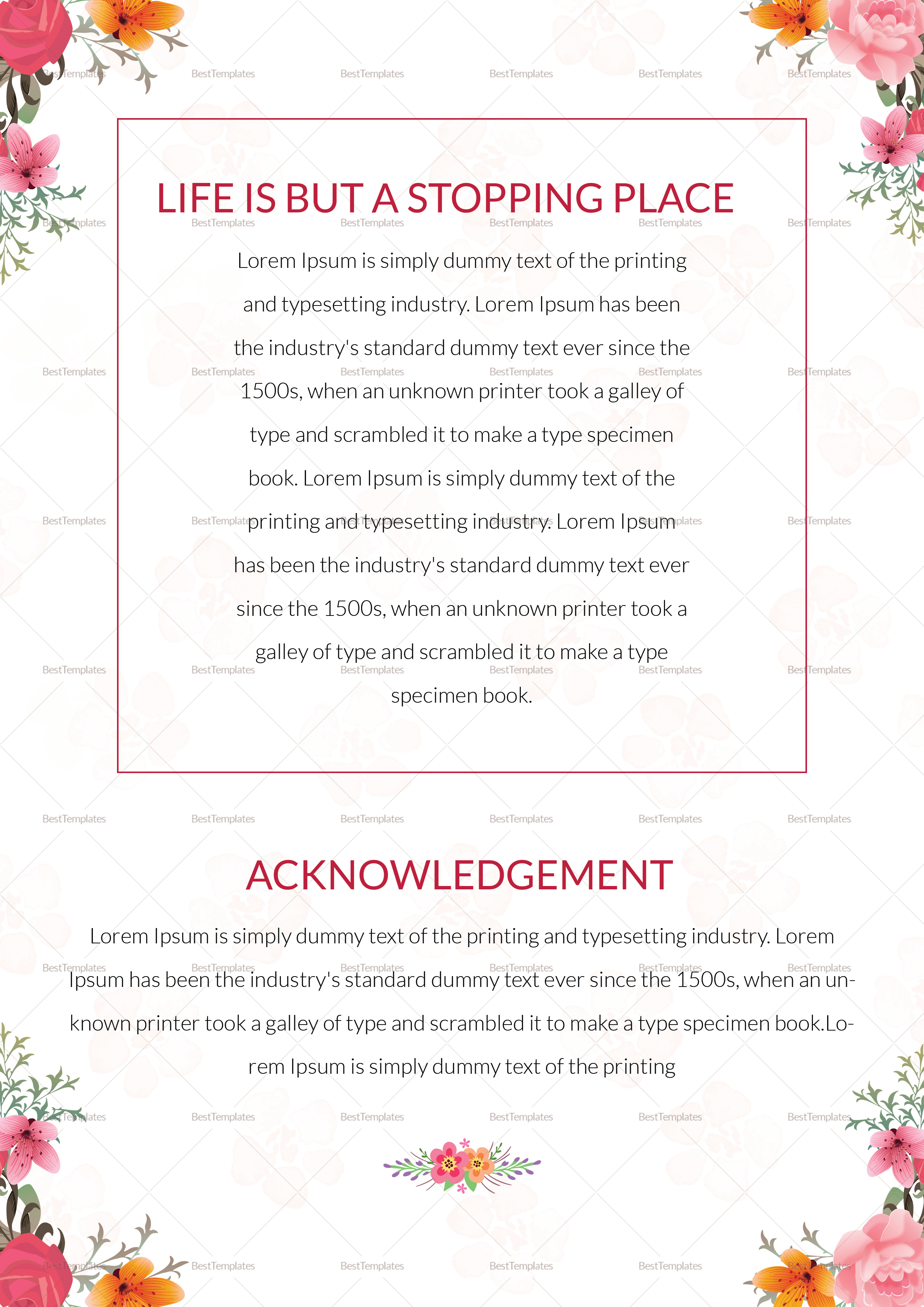Printable Obituary Funeral Pamphlet