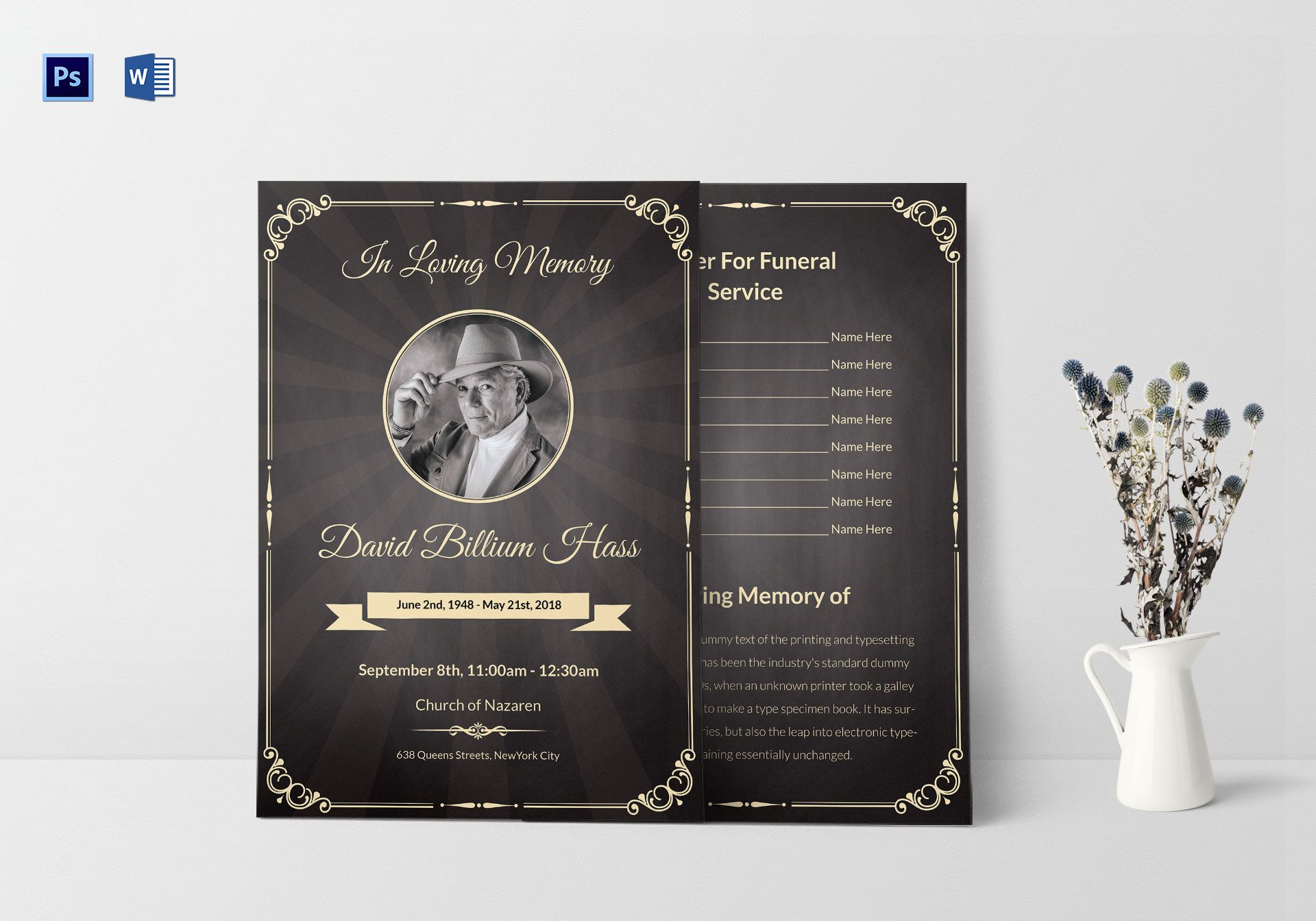 Funeral Invitation Pamphlet Template In Adobe Photoshop Microsoft Word