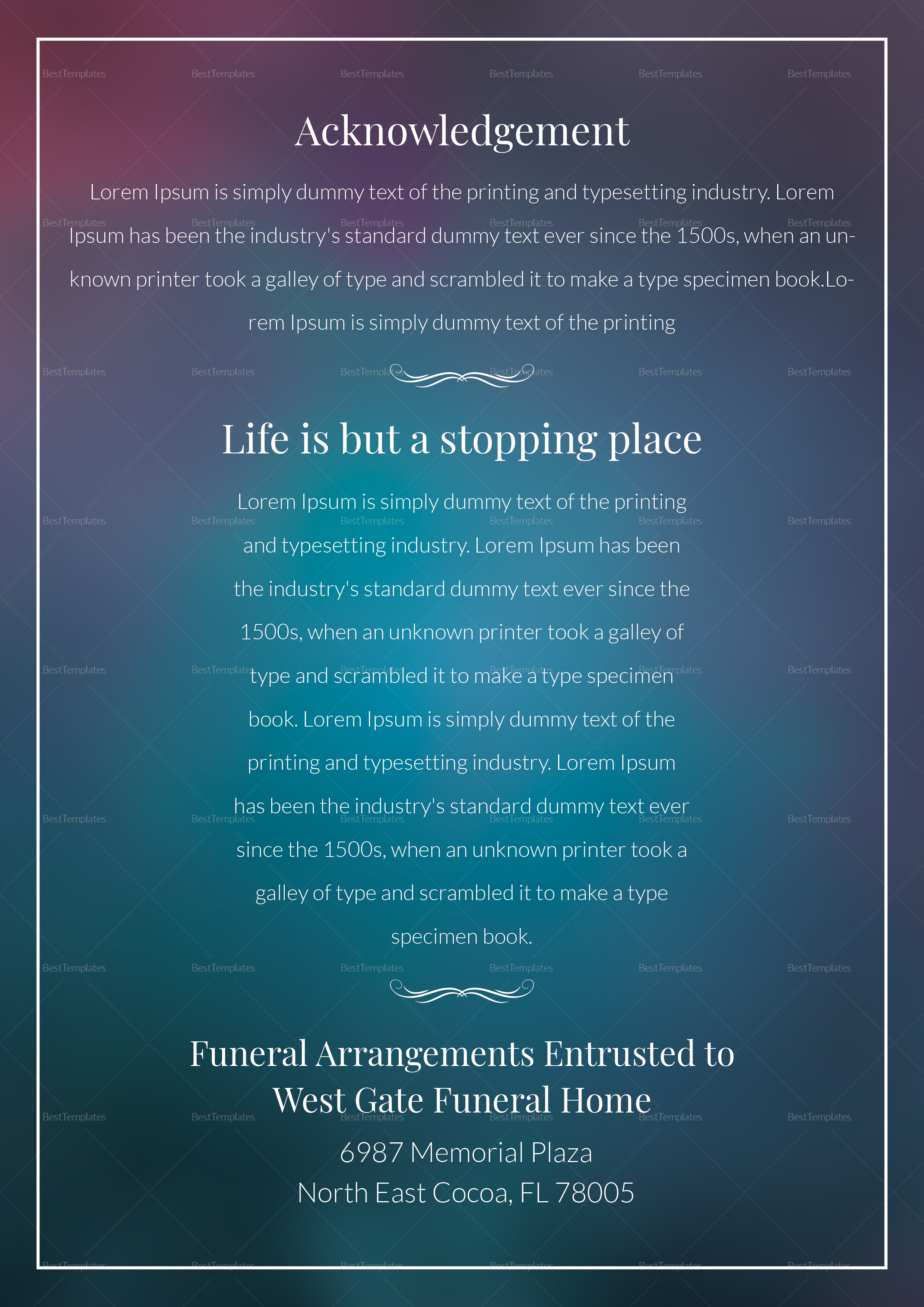 Editable Funeral Pamphlet