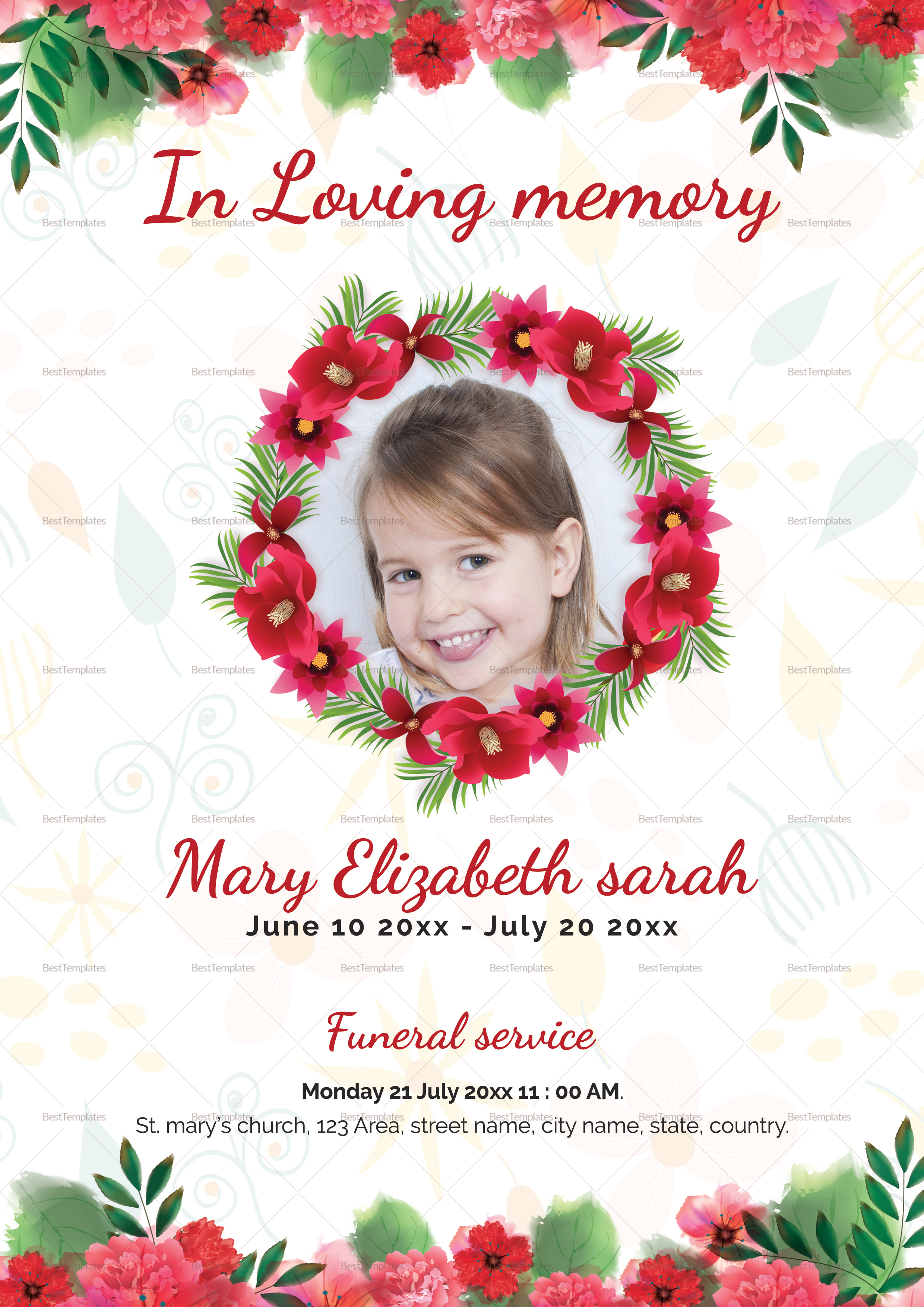Order Service Funeral Template For kids