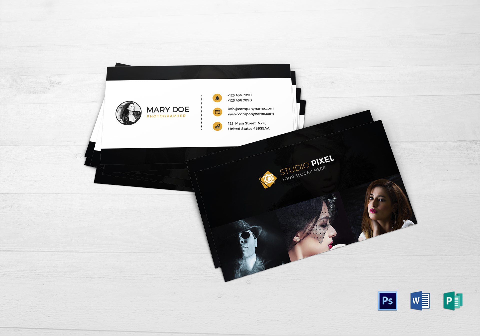 Fashion photography business card design template in psd word fashion photography business card magicingreecefo Images