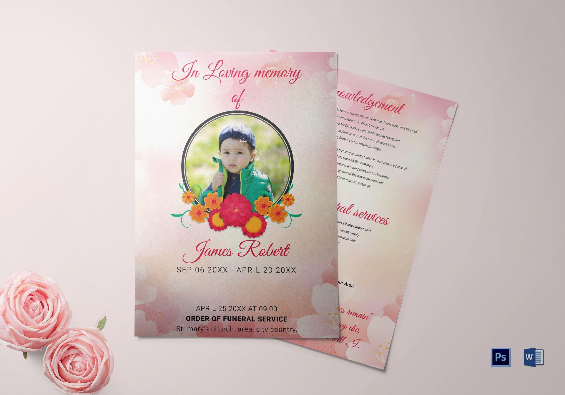 Elegant Funeral Template for Kids