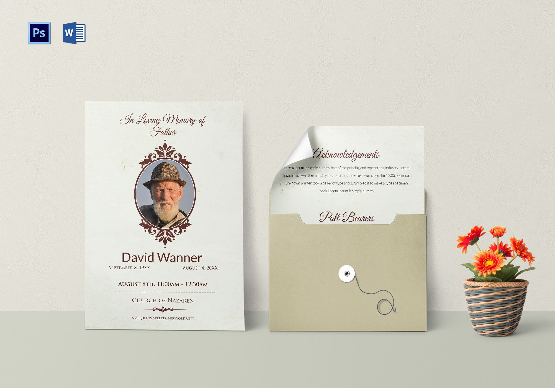 Funeral Order Service Template for Father