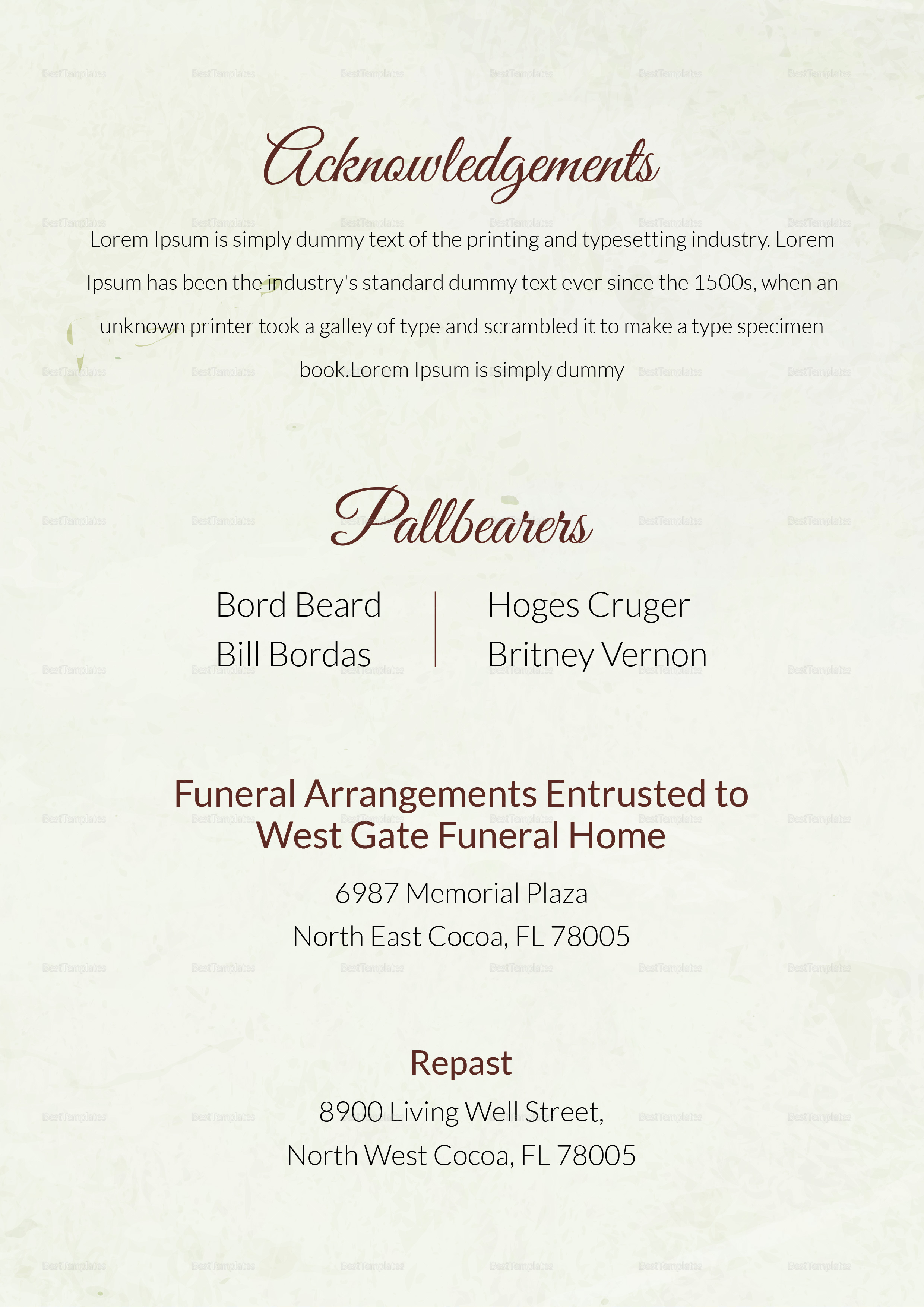 Funeral Order Service Template for Father in Adobe ...