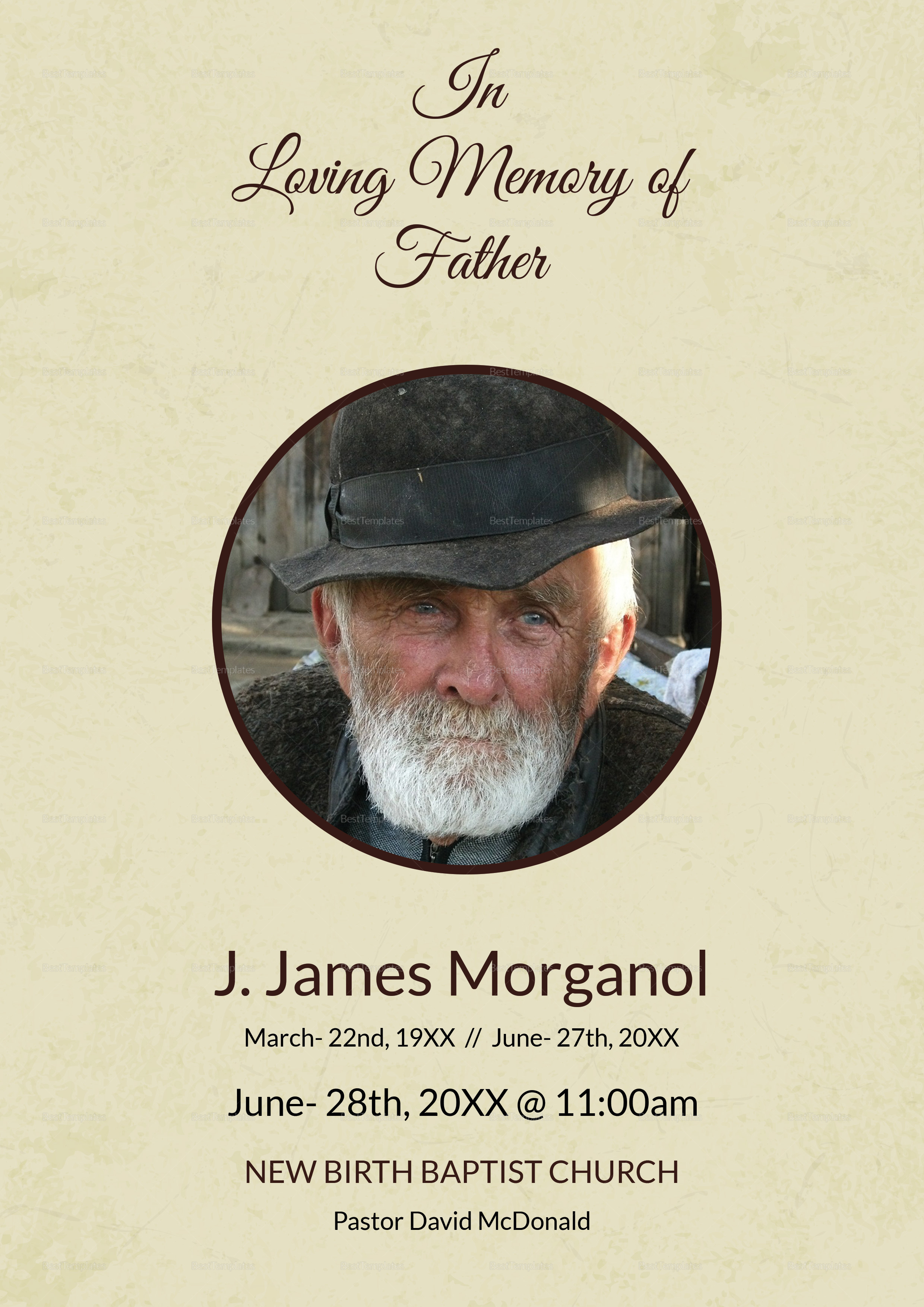 Funeral Program Template for Father