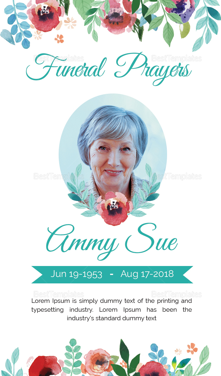 Funeral Family Prayer Card