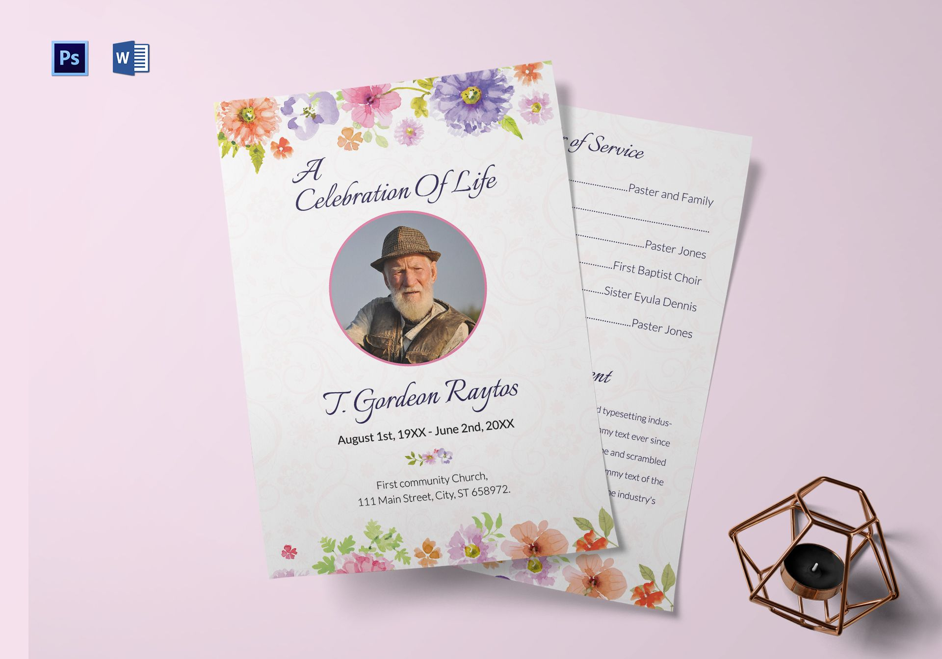 Funeral Order of Service Invitation Template