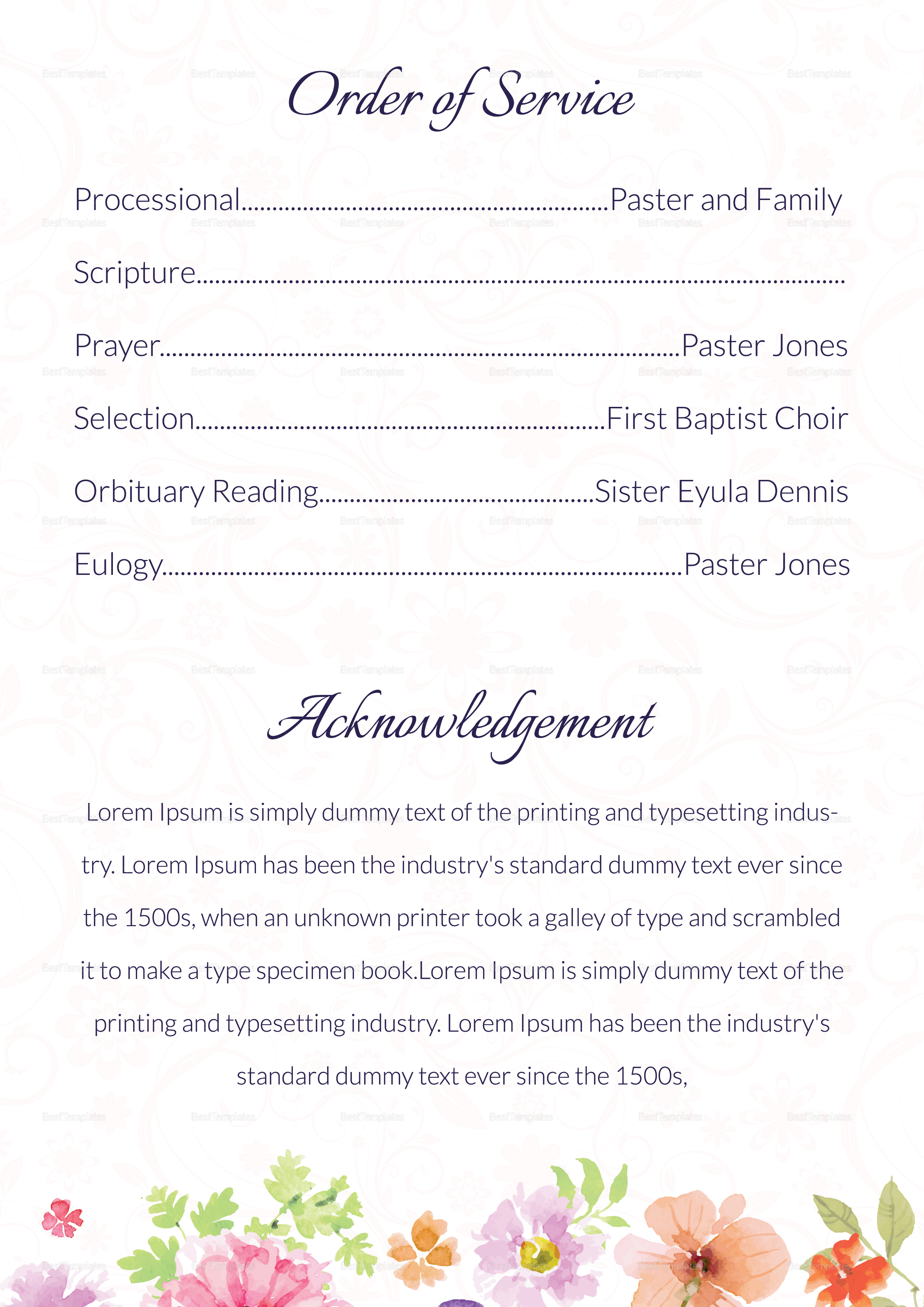 Printable Funeral Order of Service Invitation