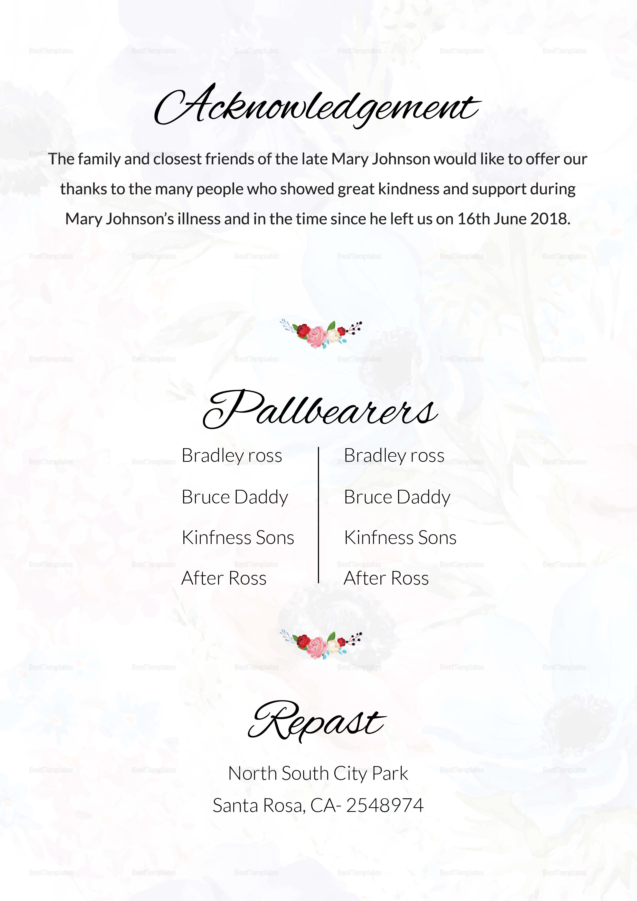 Printable Funeral Resolution Template in Adobe Photoshop, Microsoft Word