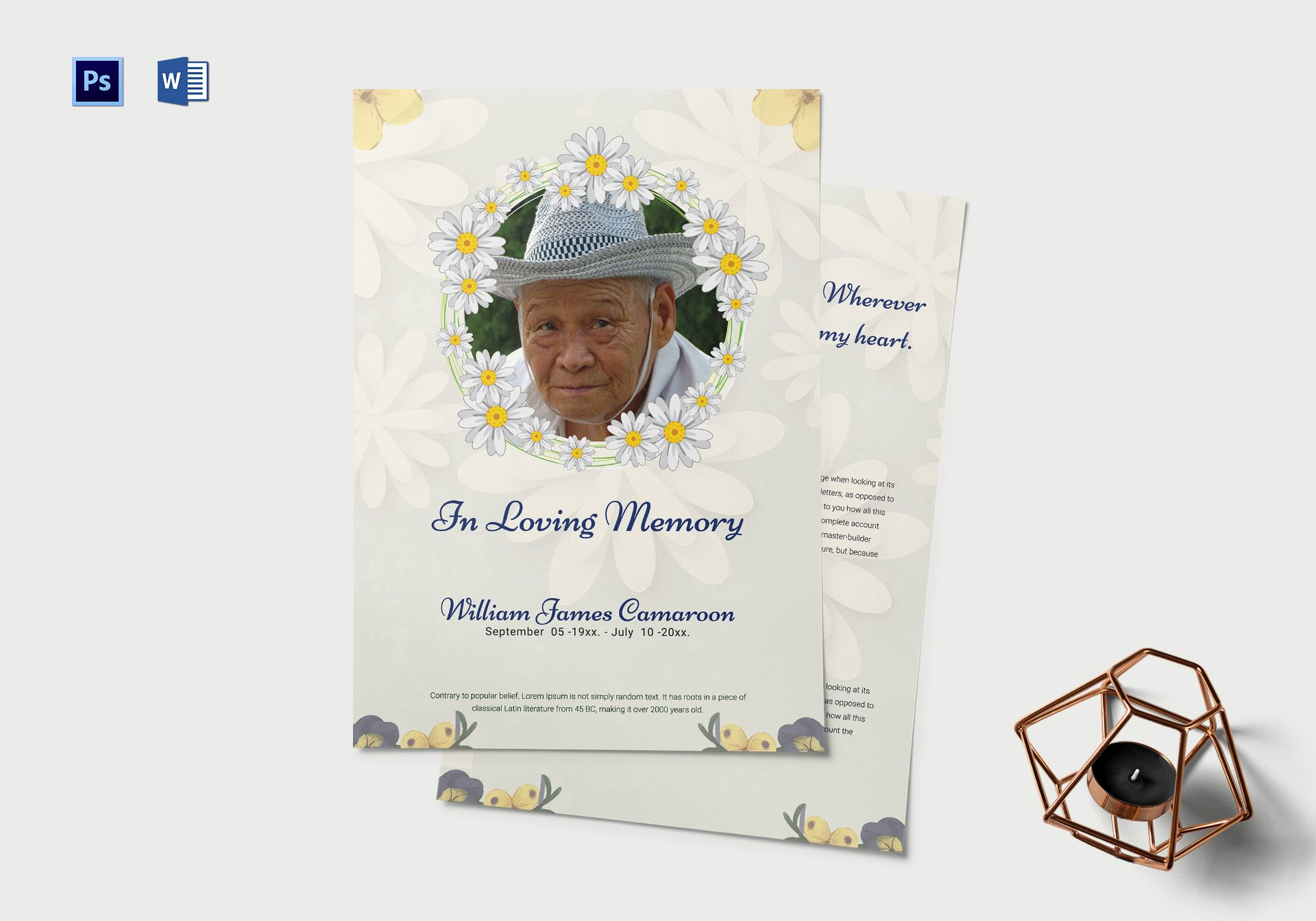 Simple Funeral Memorial Event Program Template