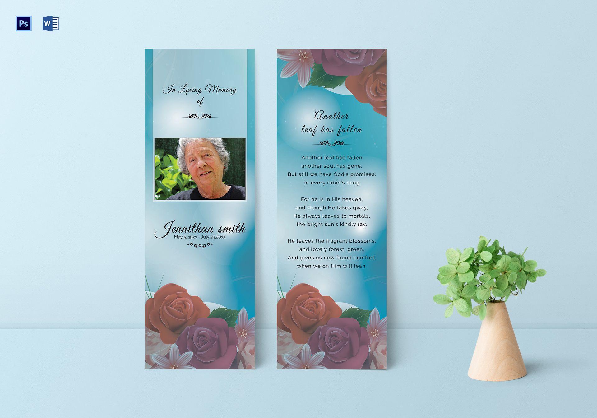 Memorial Bookmark Template