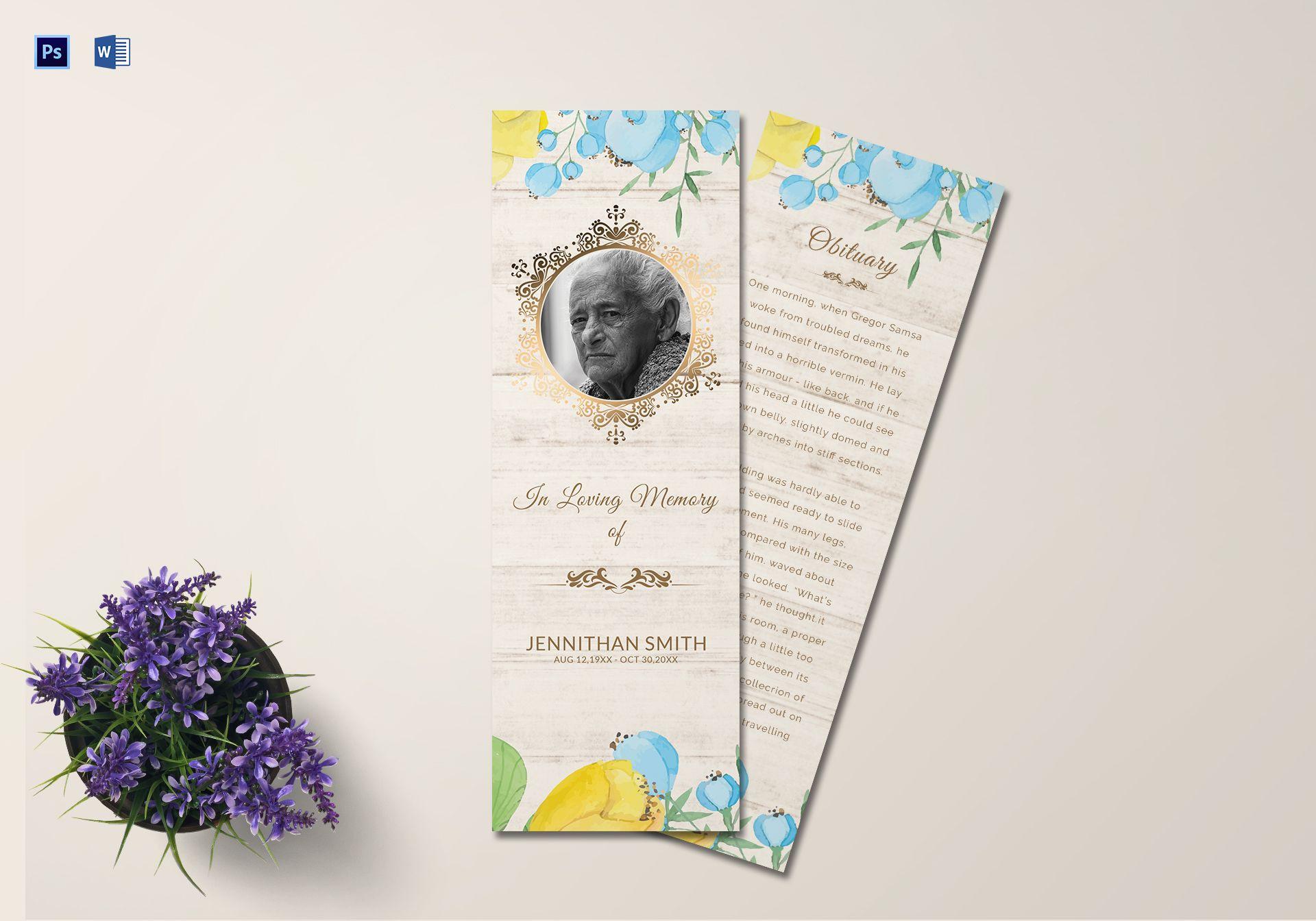 Memorial Service Bookmark Template