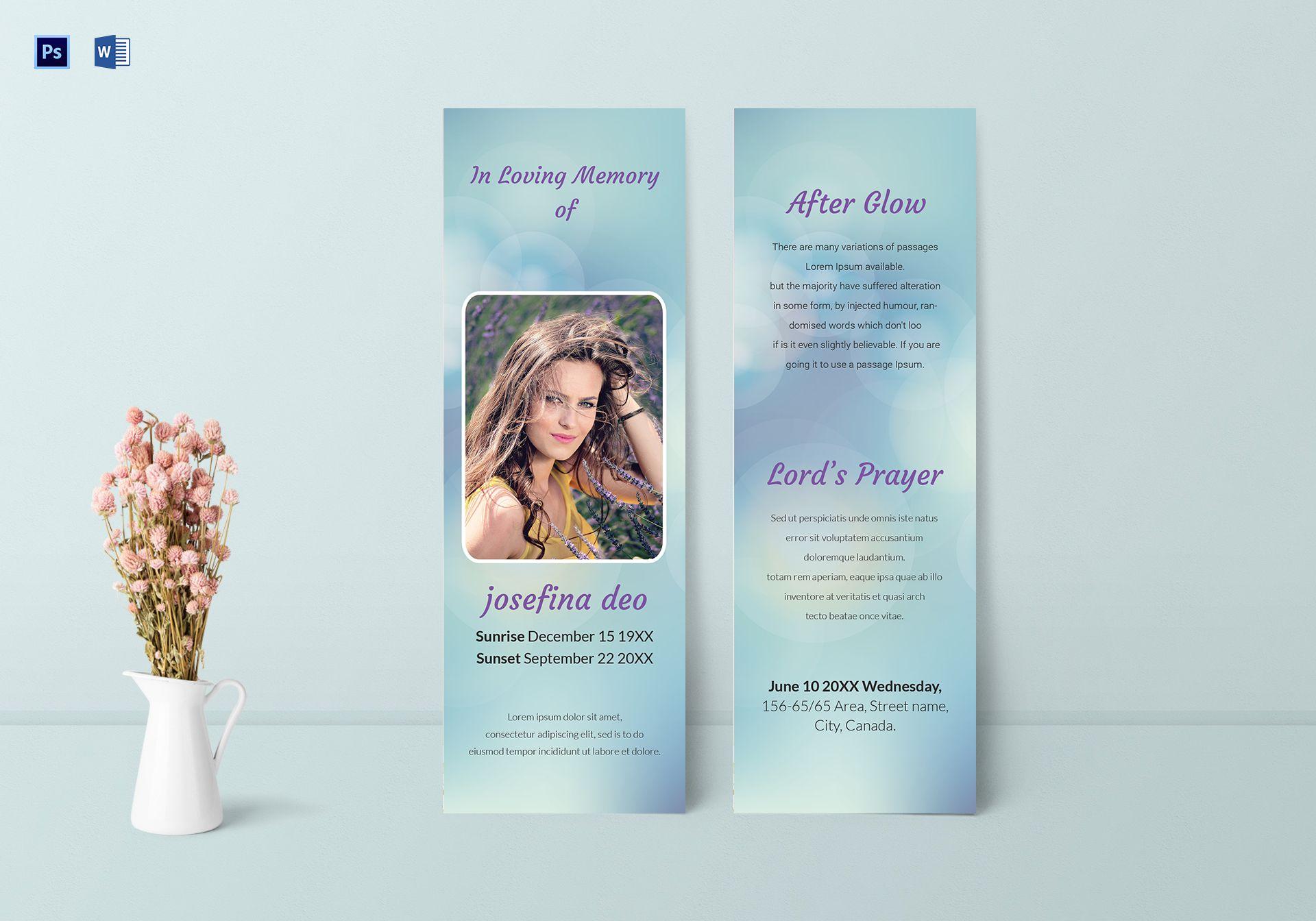 Funeral Memorial Bookmark Template
