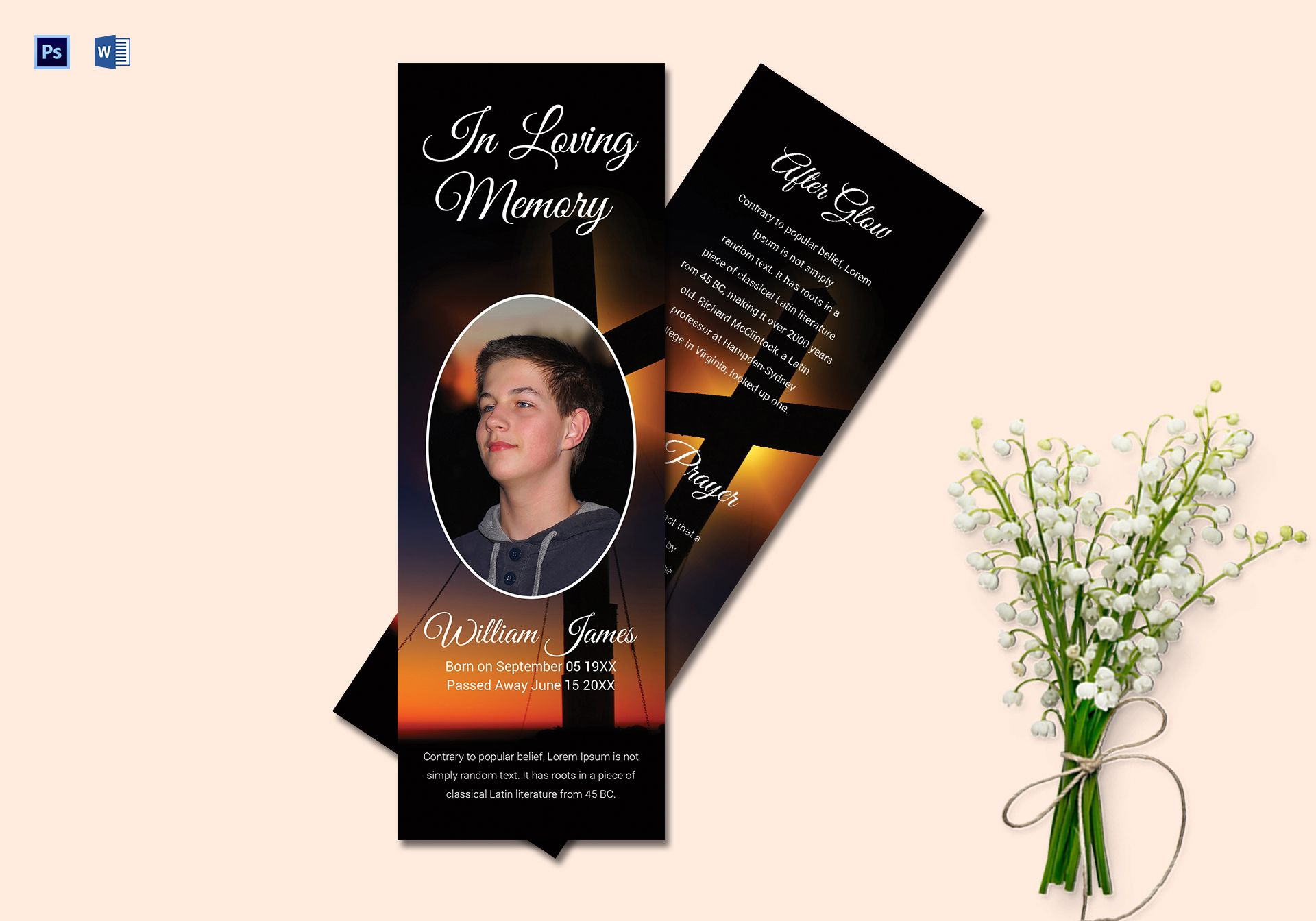 Personalized Funeral Bookmark Template