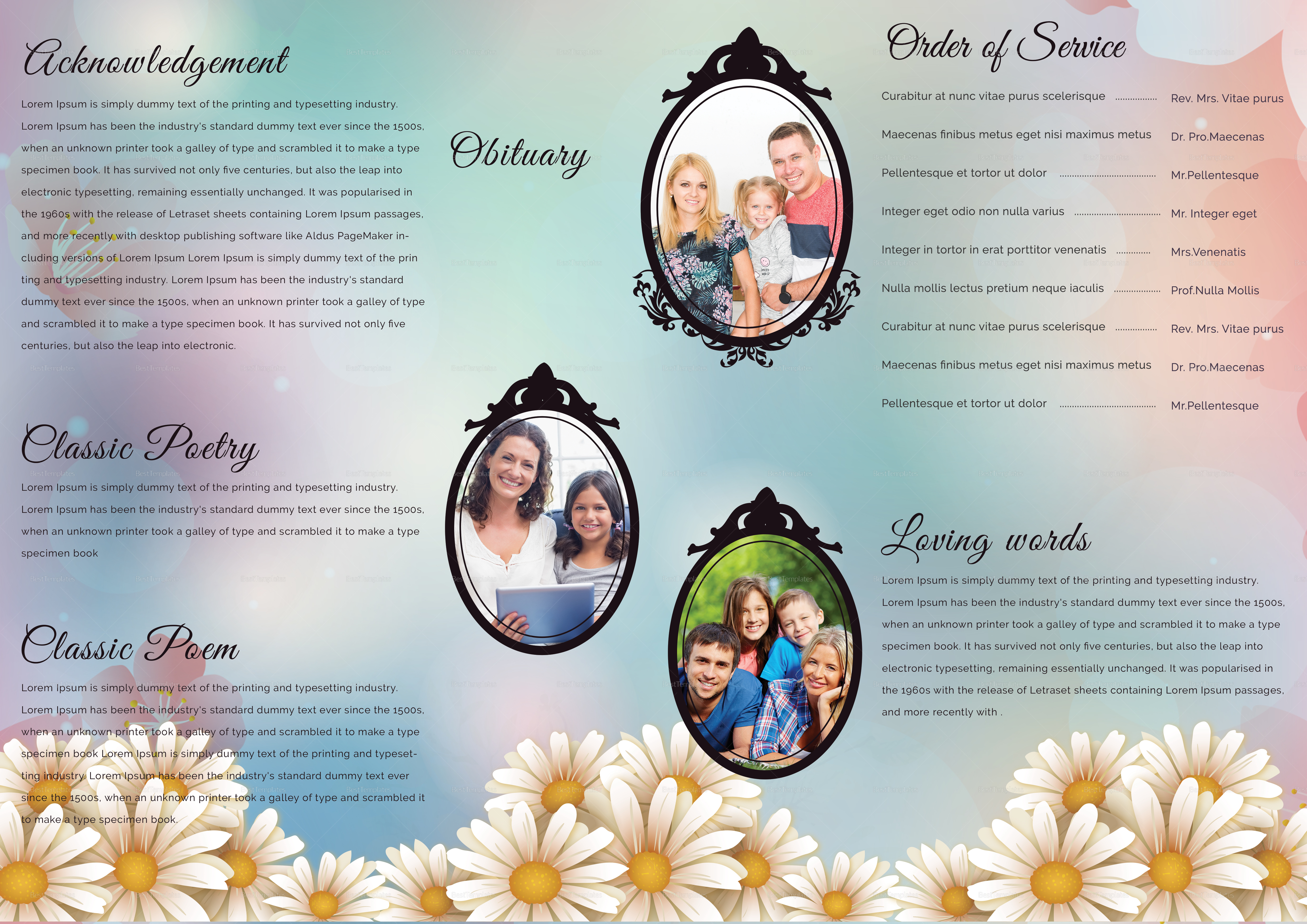 A3 Funeral Program Brochure