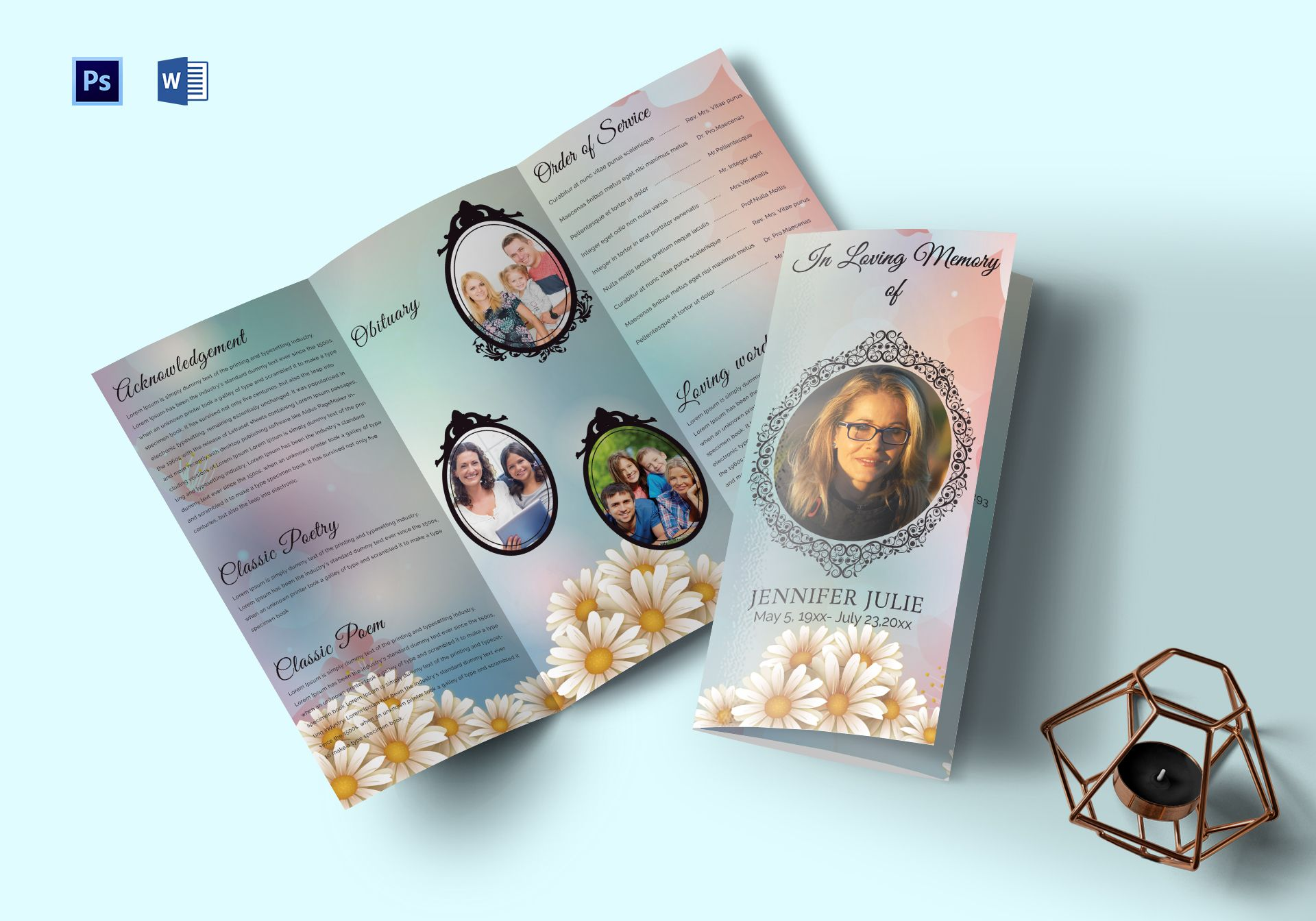funeral program trifold brochure template in adobe photoshop
