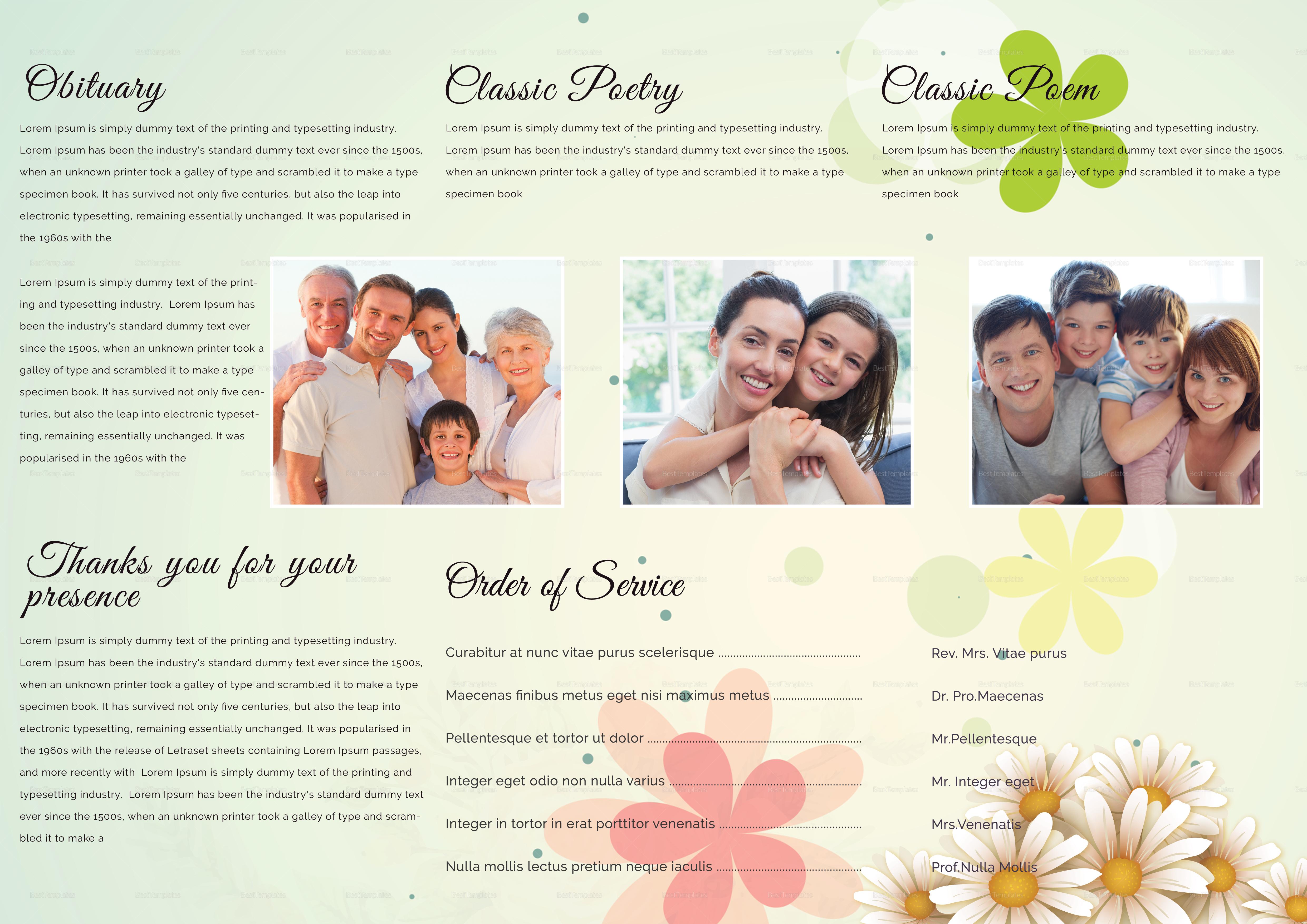 A3 Obituary Funeral Brochure