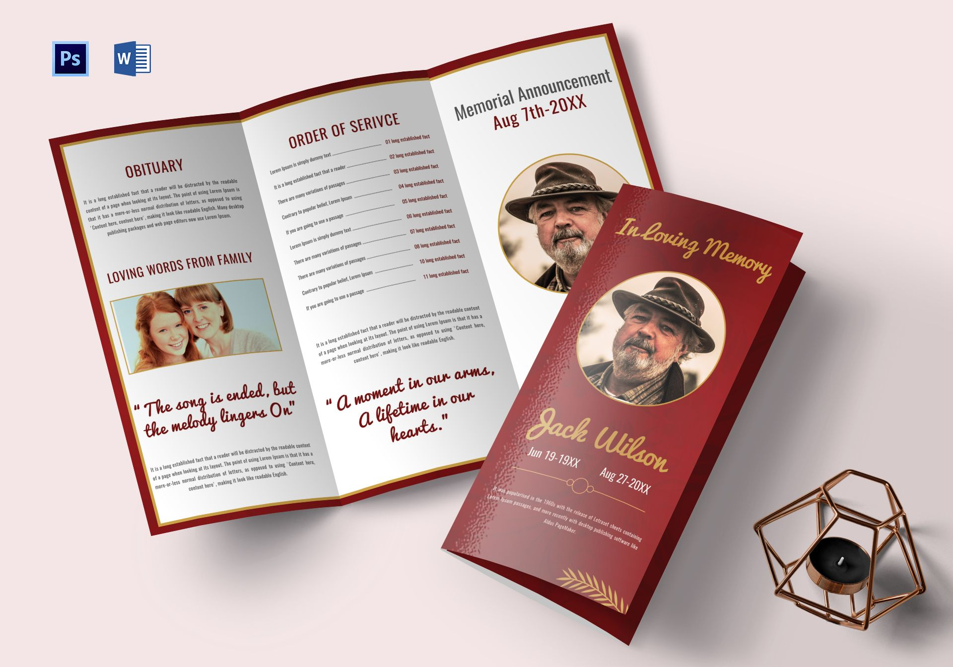 Customizable Funeral Trifold Brochure Template