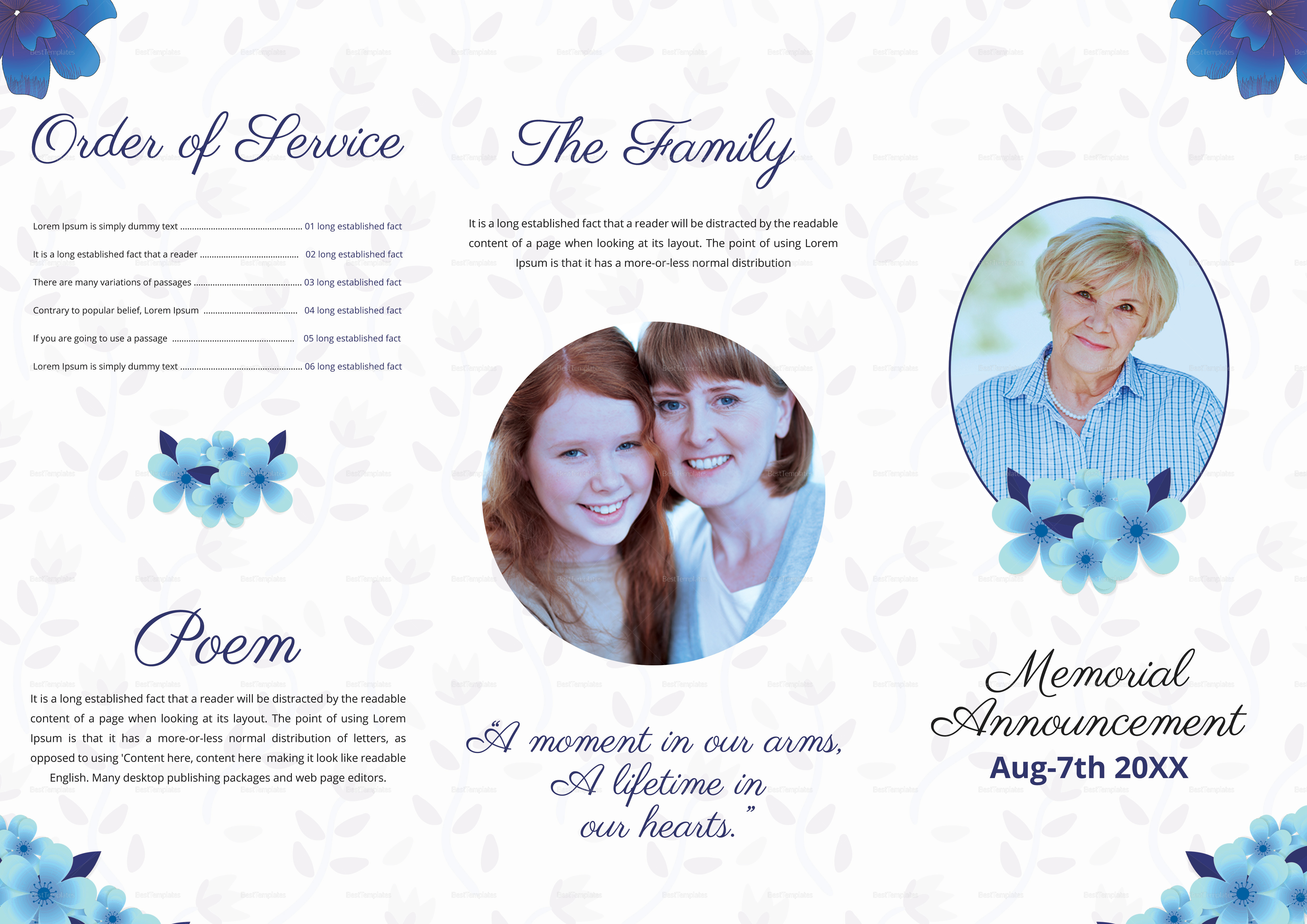 A3 Elegant Funeral Trifold Brochure