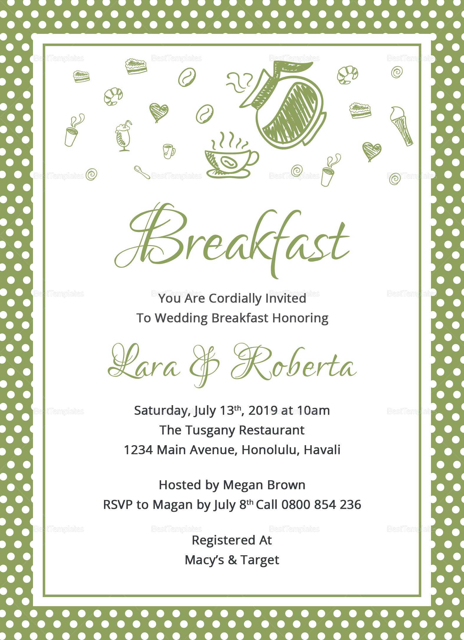 printable breakfast invitation design template in word