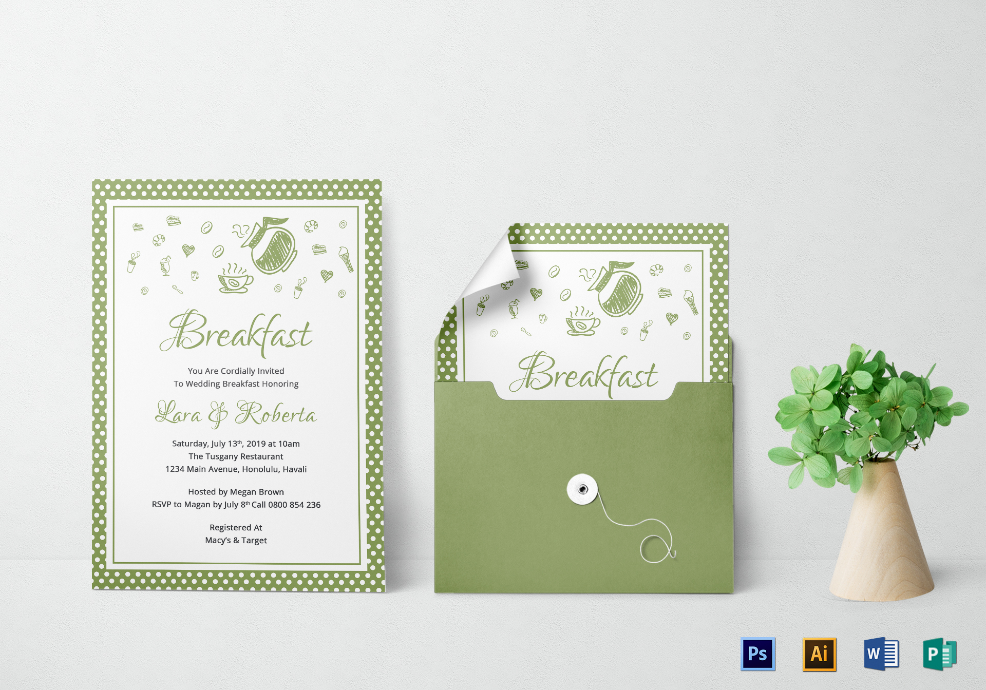 Printable Breakfast Invitation Design Template in Word PSD Publisher