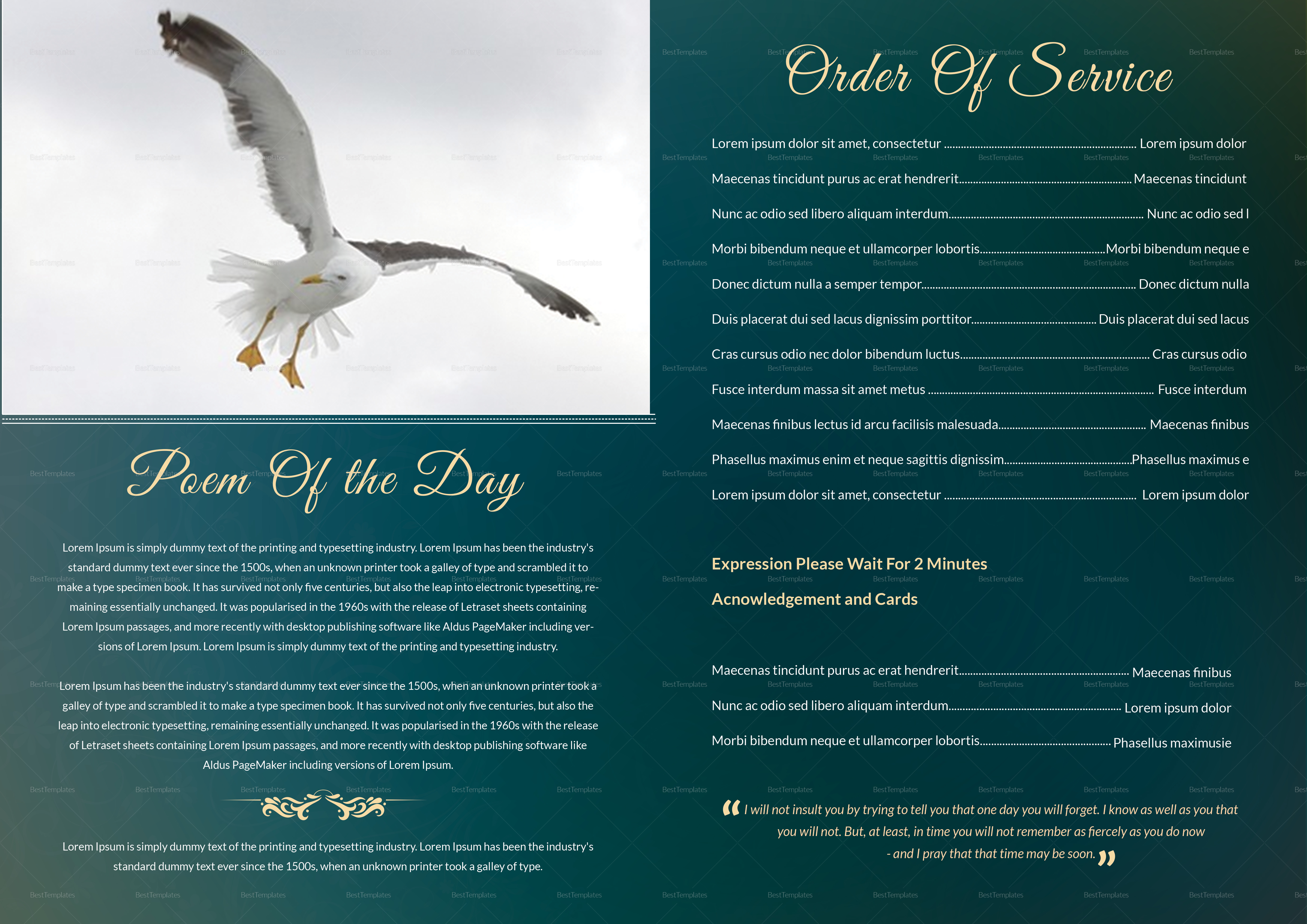 Customize obituary Funeral Booklet