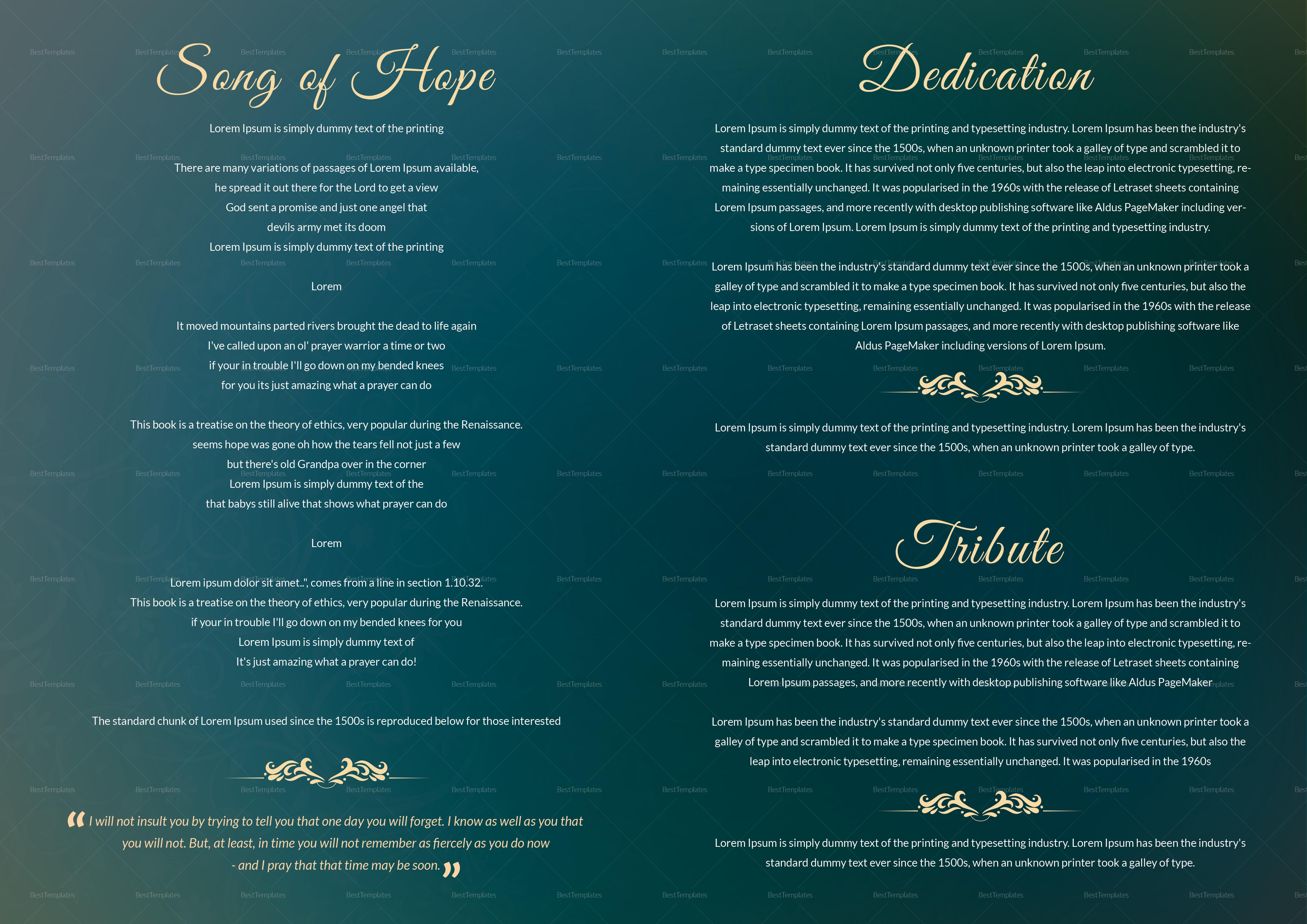 Elegant obituary Funeral Booklet
