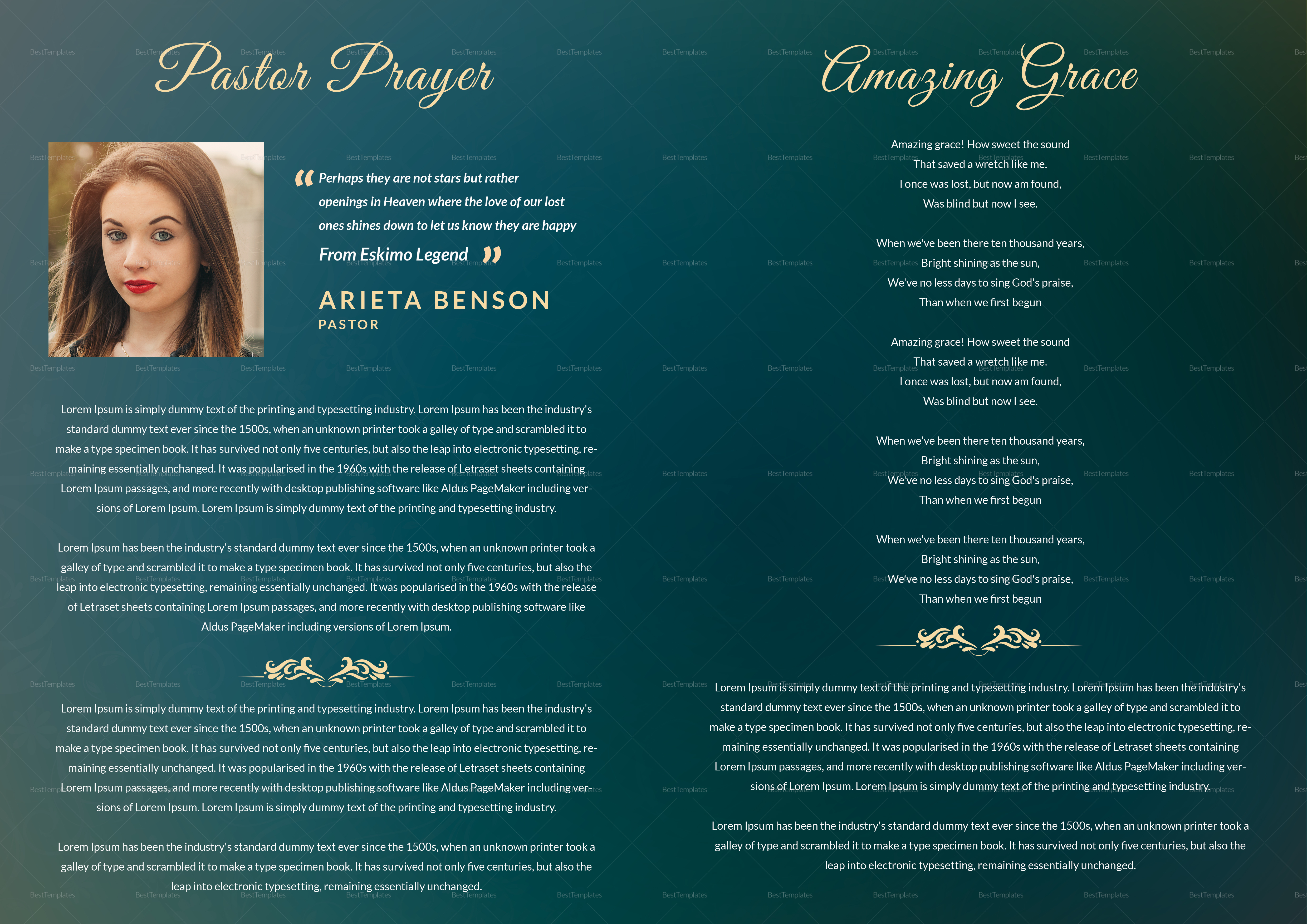 photoshop obituary Funeral Booklet
