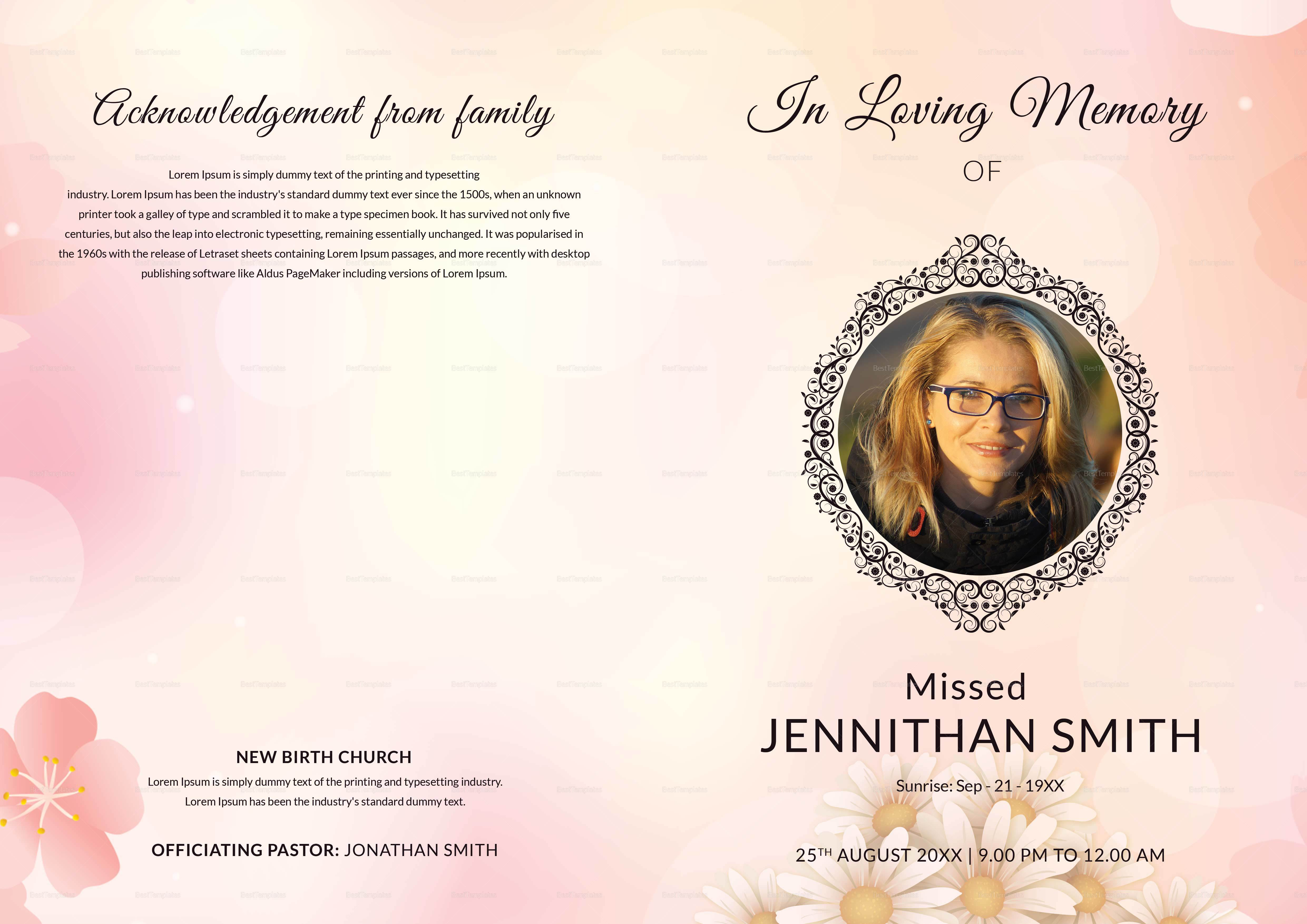 Designed Funeral Booklet