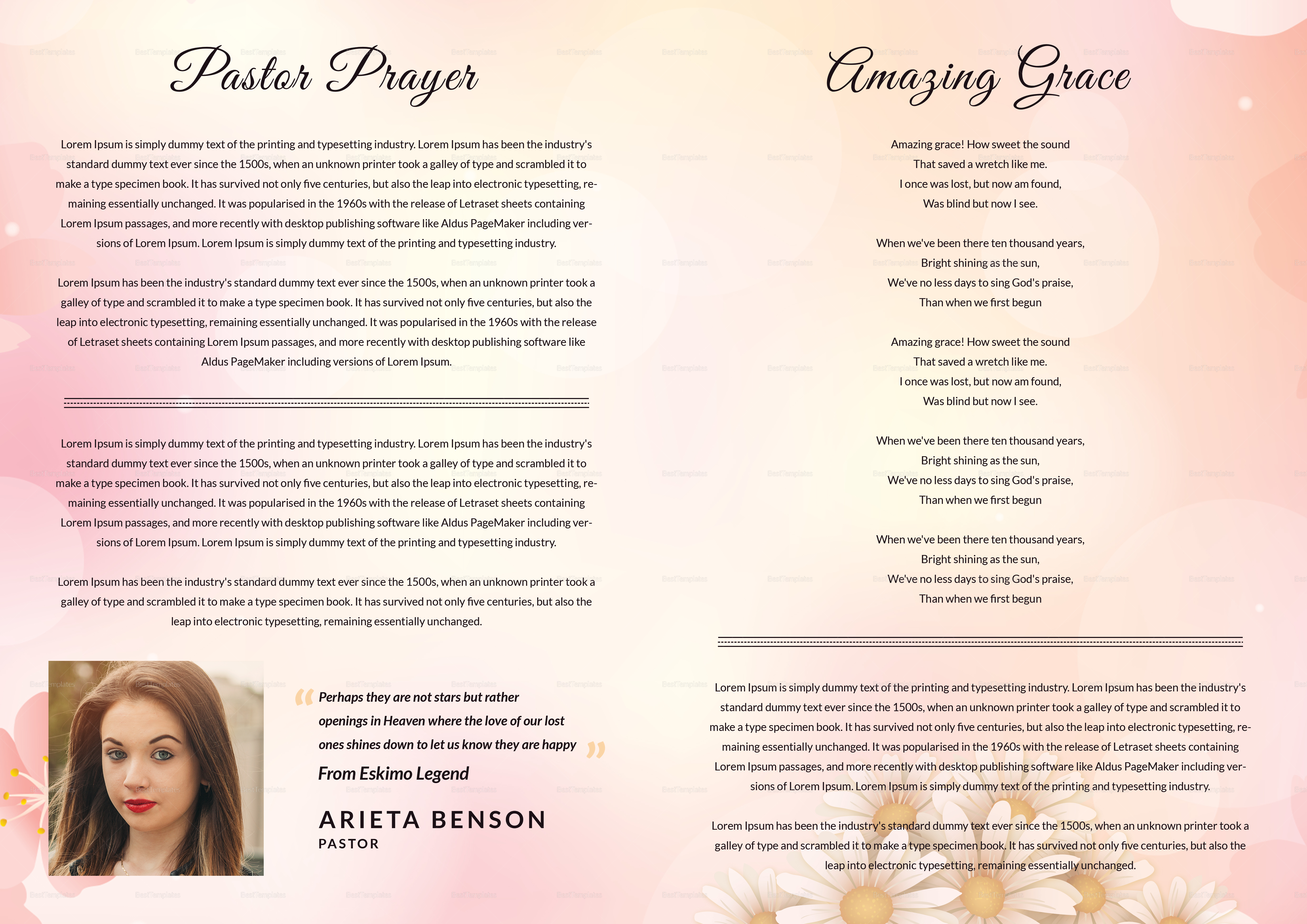Designed booklet for funeral