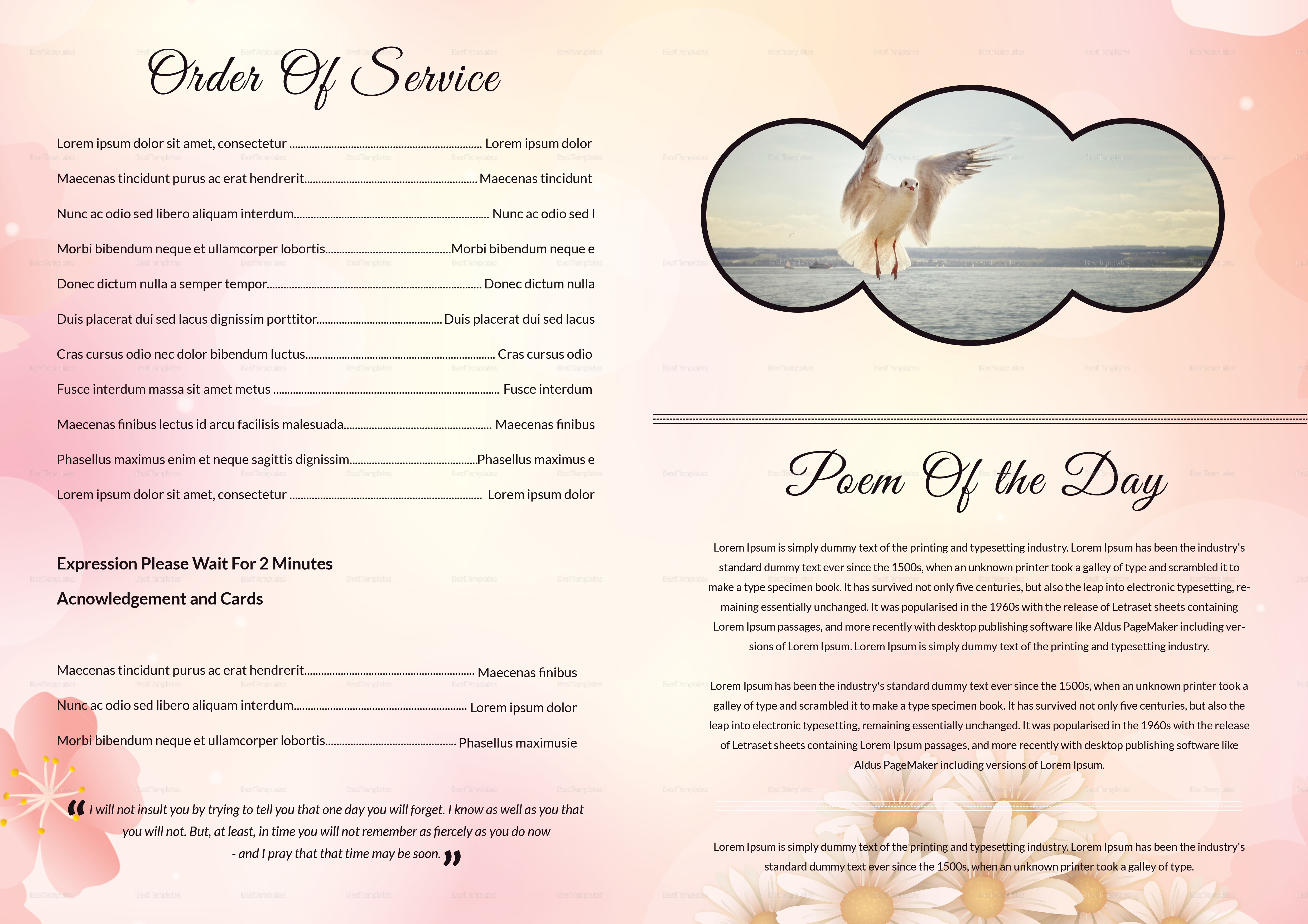 Printable Funeral Booklet