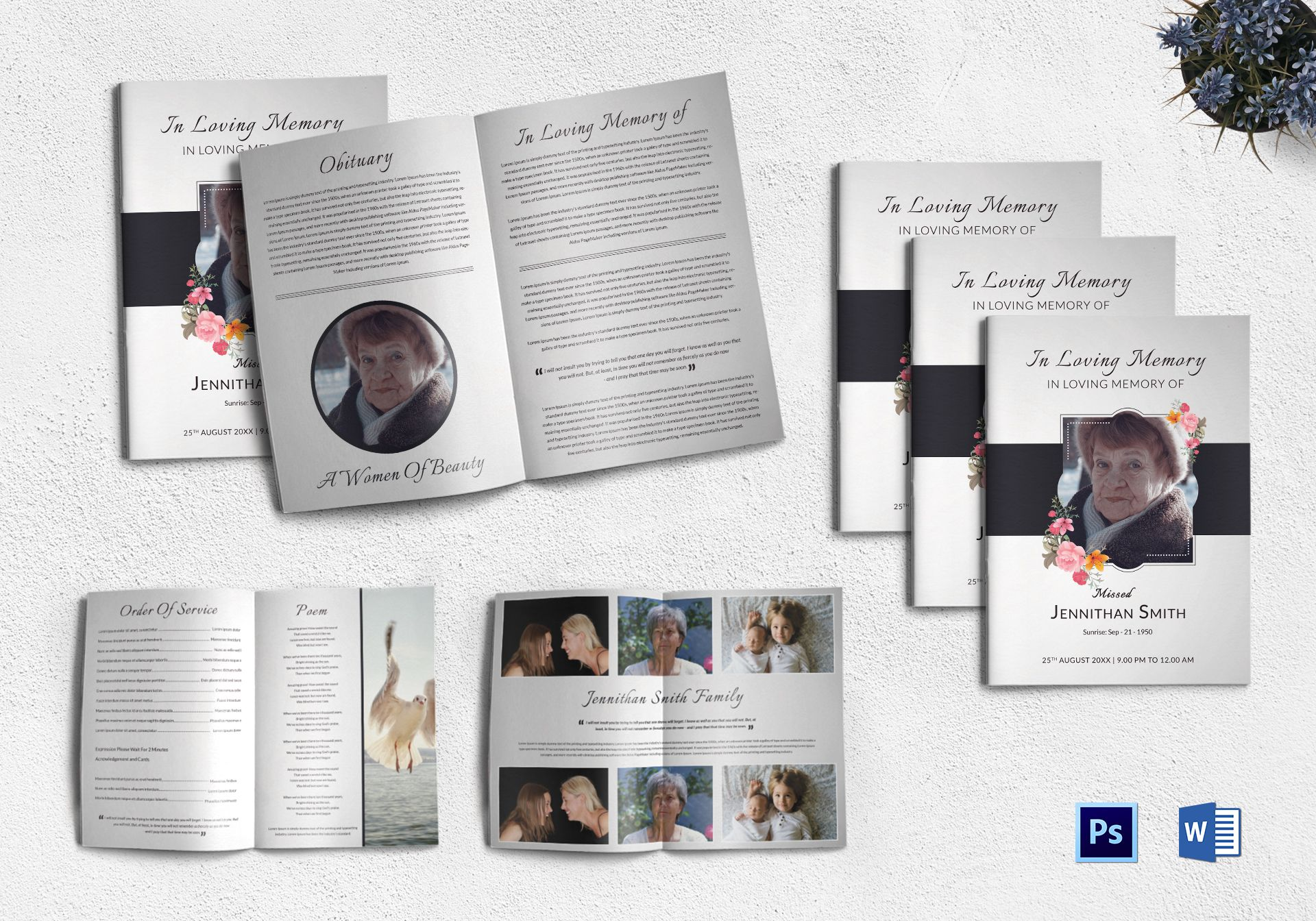 Customizable Funeral Booklet