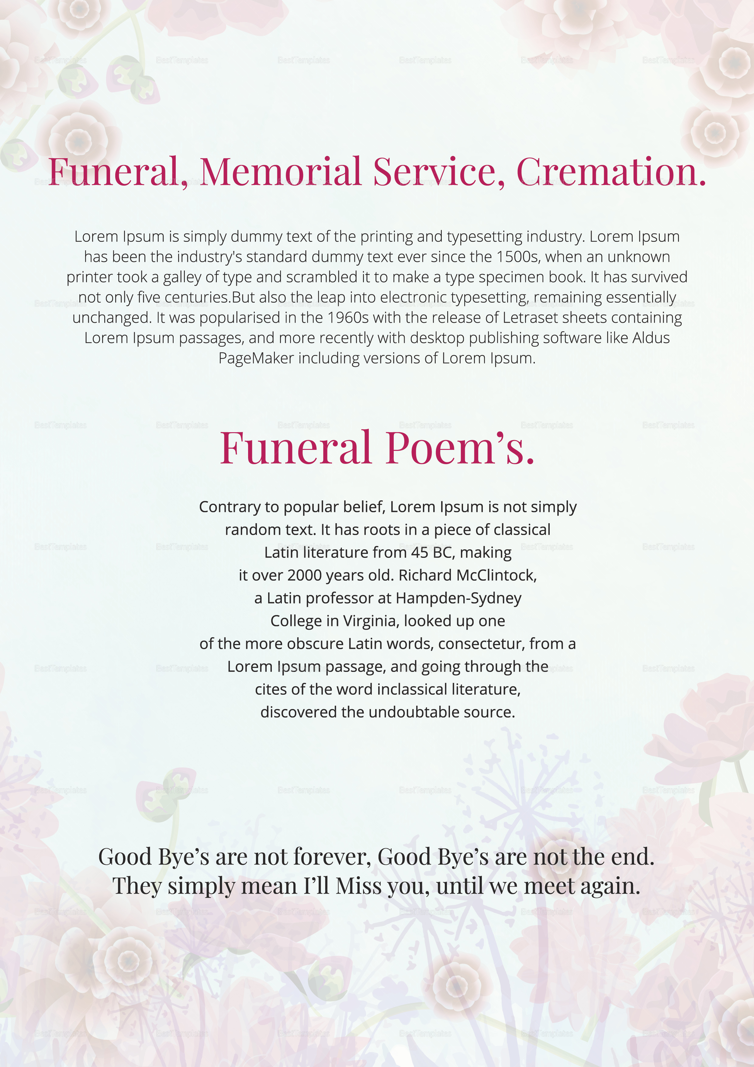Funeral Service Planner Template In Adobe Photoshop Microsoft Word