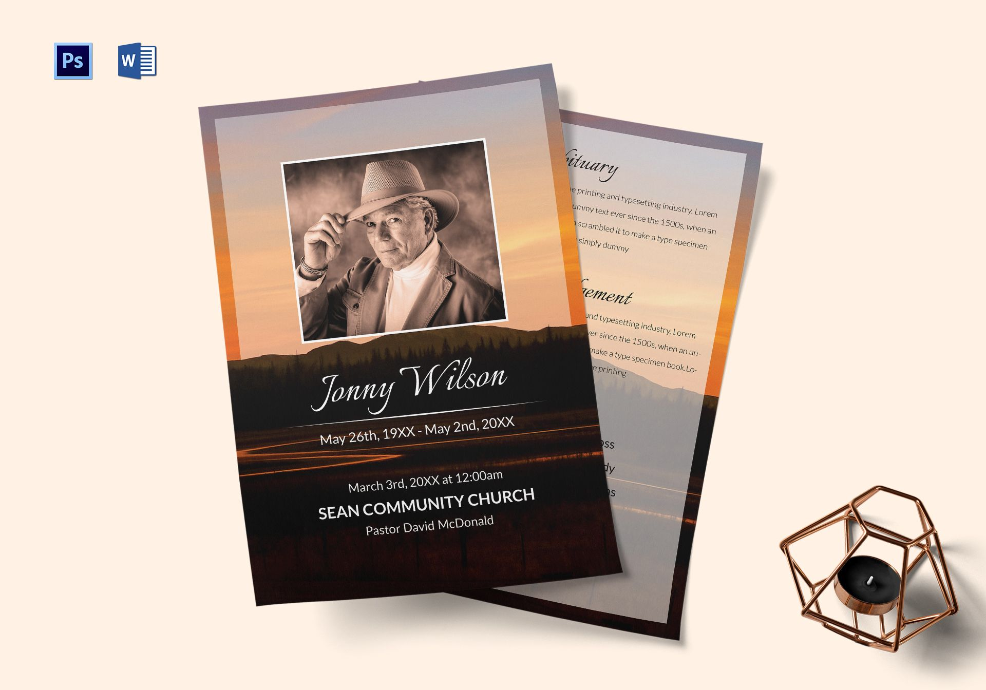 Funeral Obituary Template In Adobe Photoshop Microsoft Word