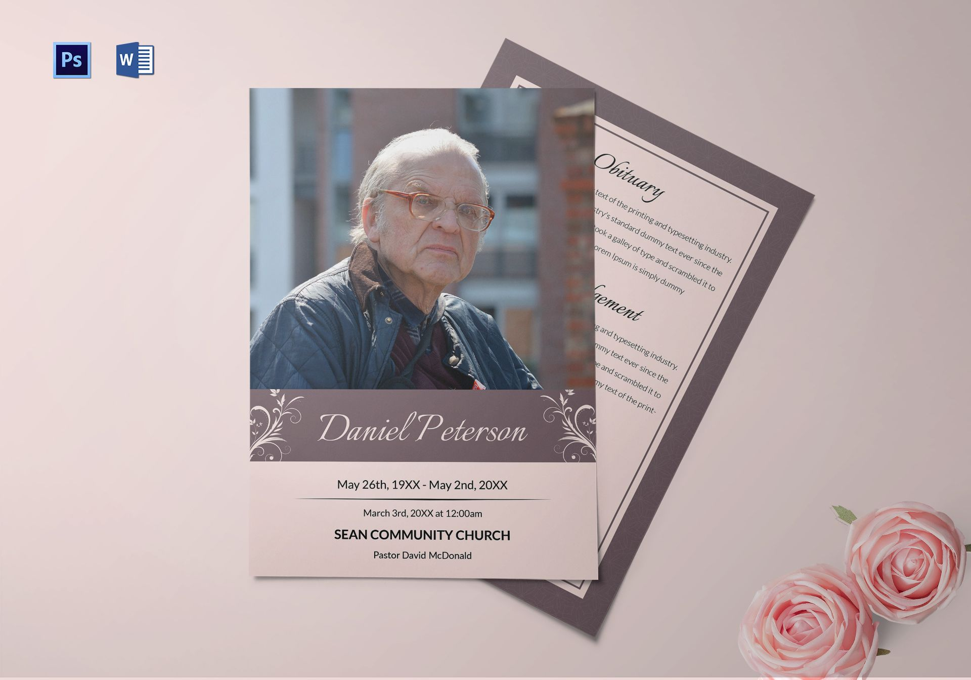 Editable Funeral Obituary Template In Adobe Photoshop Microsoft Word
