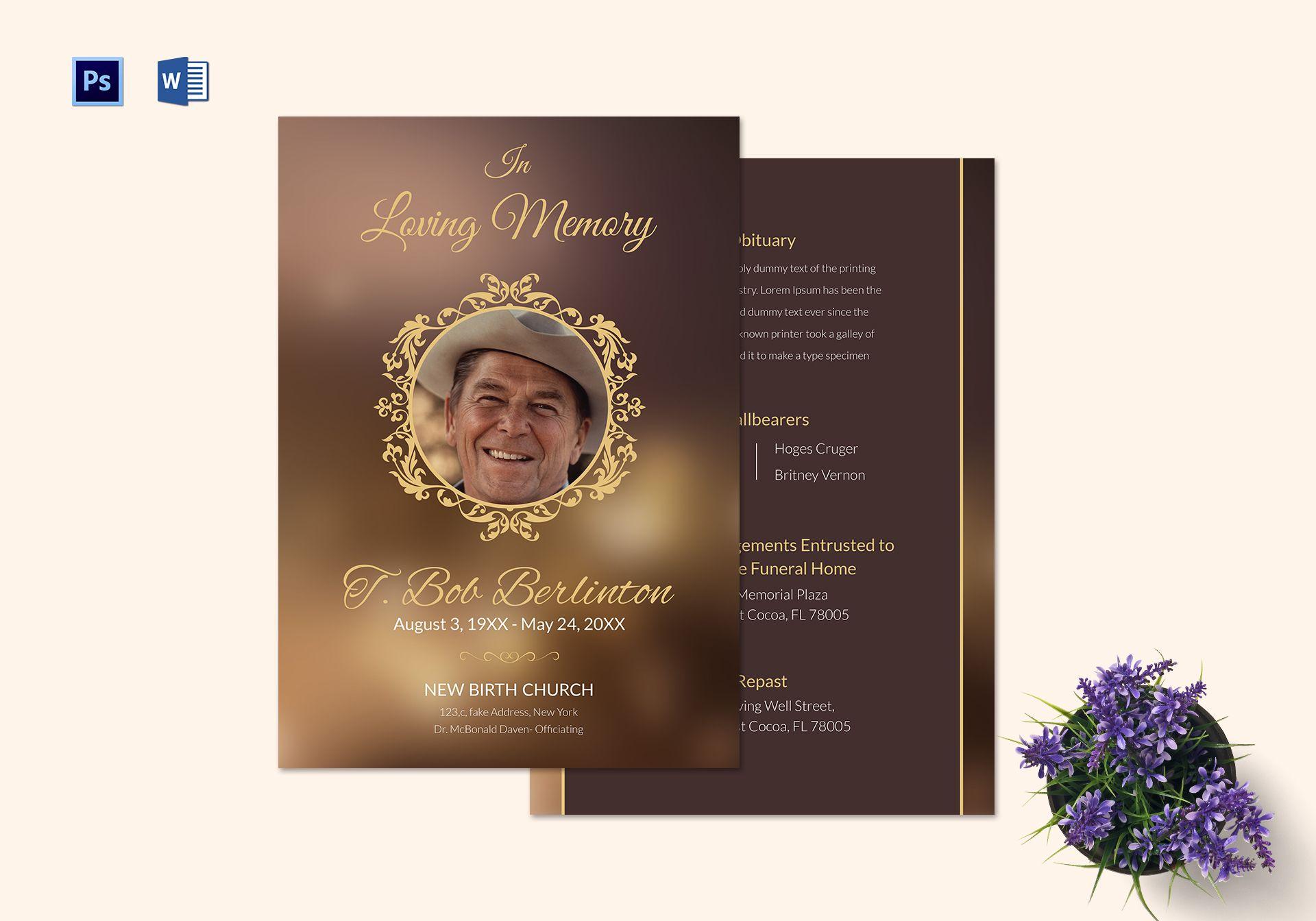 Customizable Funeral Obituary T