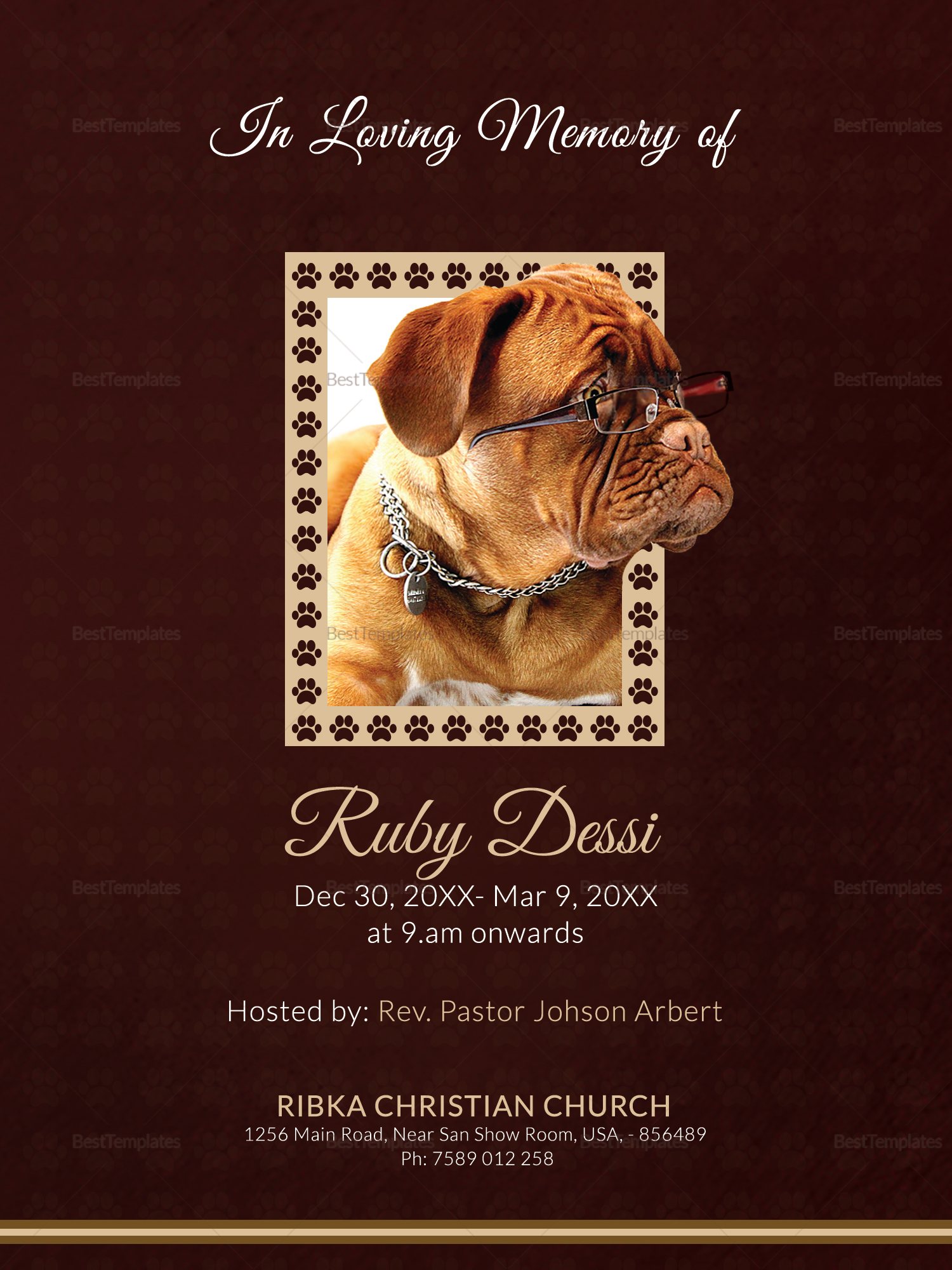 Memorial Card for Pet Template