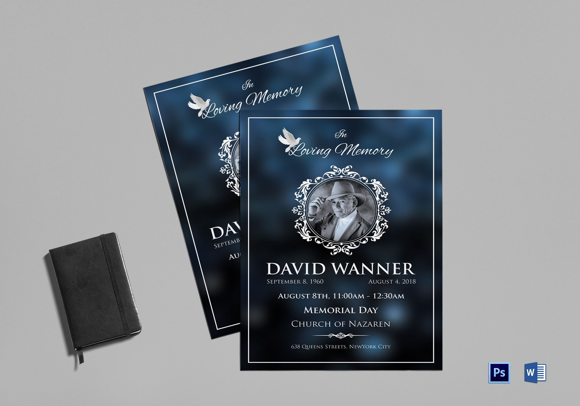 memorial funeral program template in adobe photoshop microsoft word