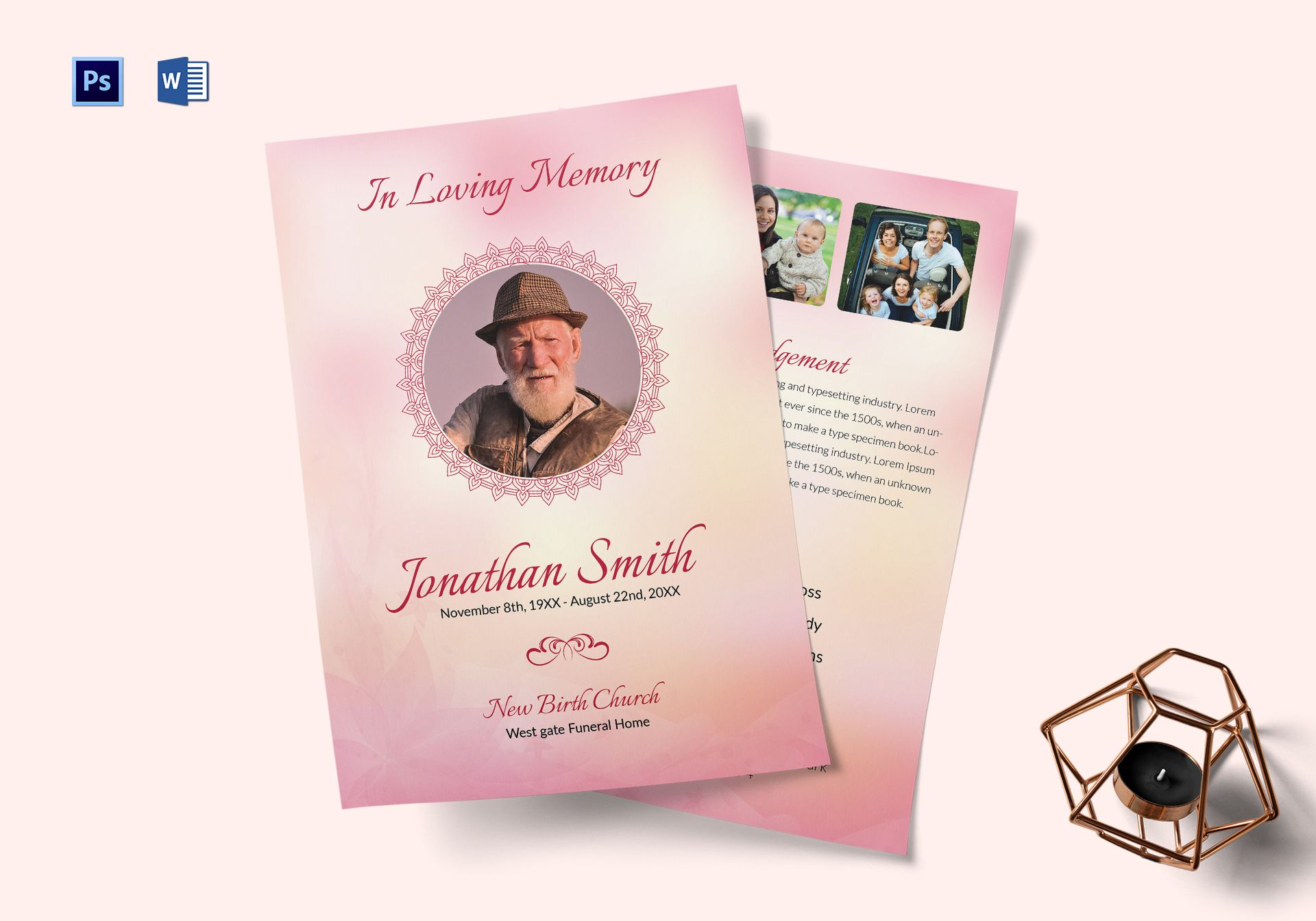 Catholic Funeral Service Program Template In Adobe Photoshop