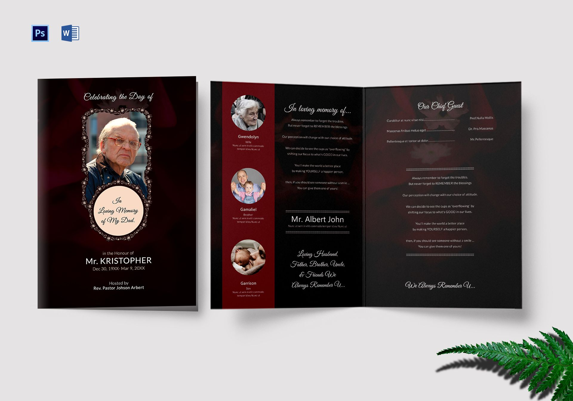 Funeral Program Bi-Fold Card Template