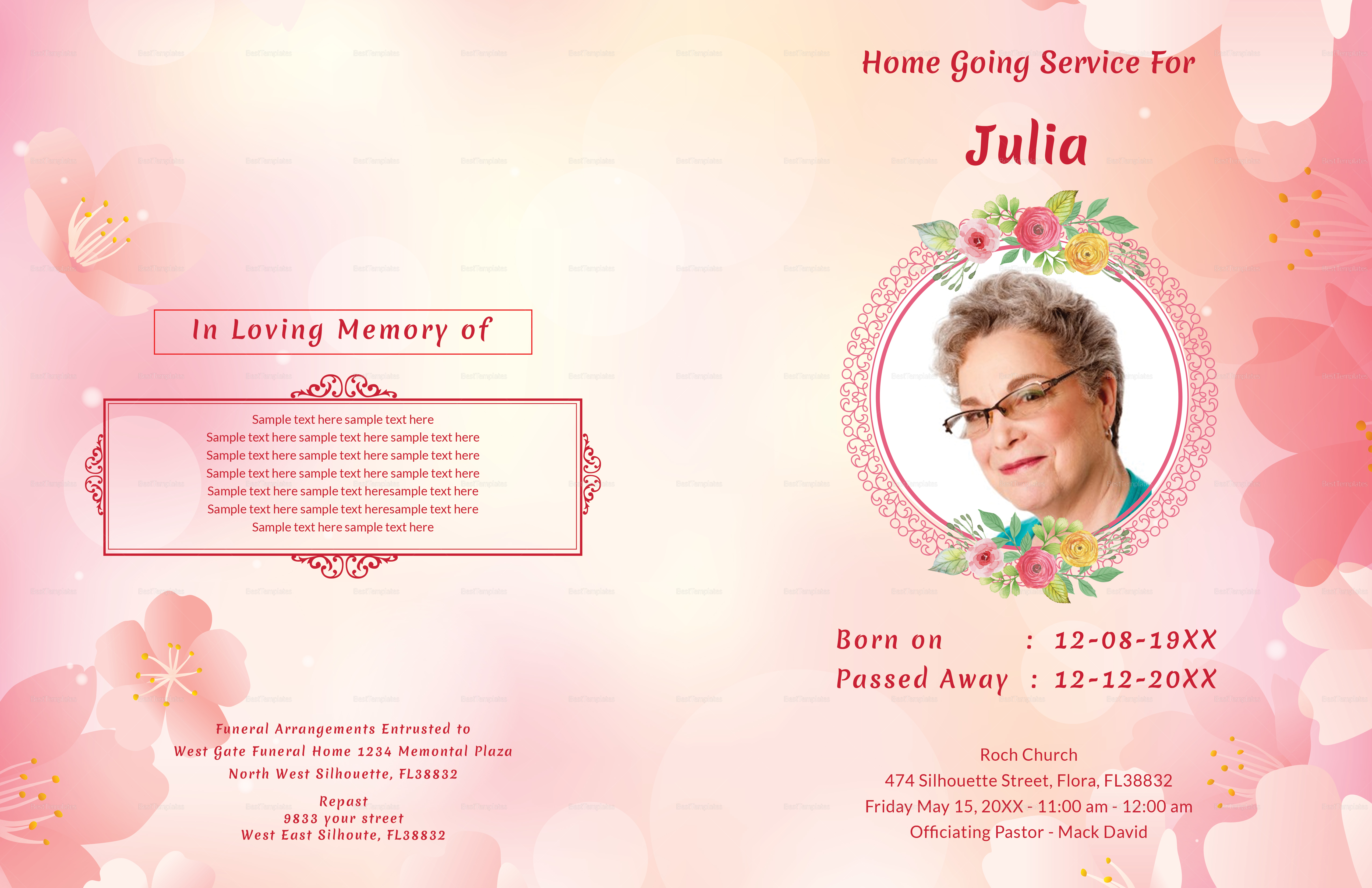 Funeral Order of Service Brochure