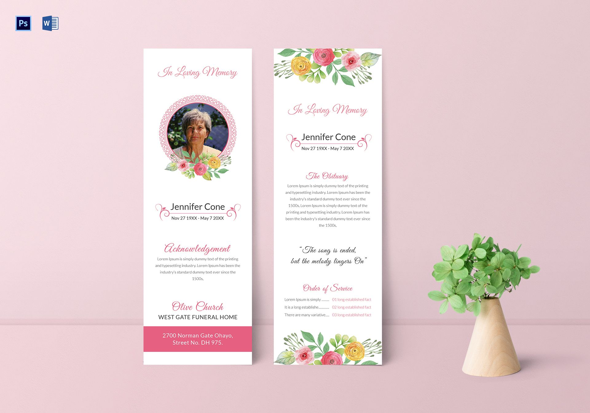 Funeral Service Bookmark Template