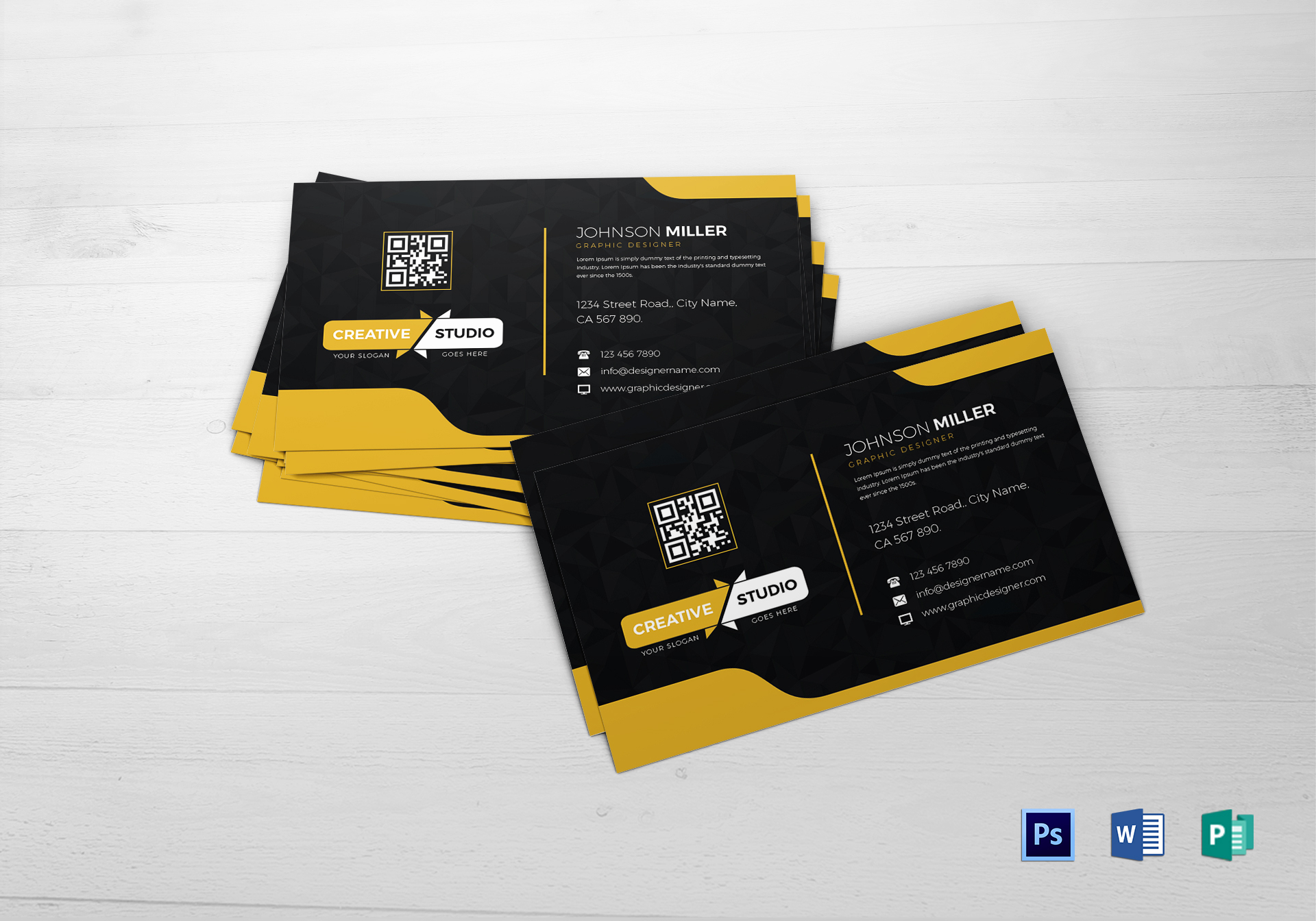 Graphic designer business card design template in psd word publisher graphic designer business card flashek