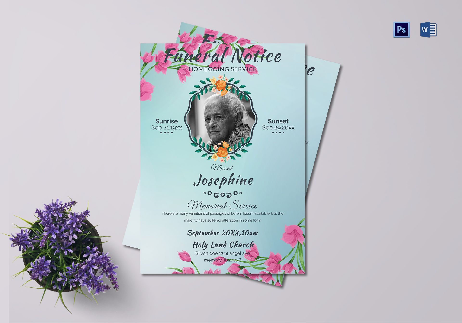 Happy Leaving Funeral Notice Template