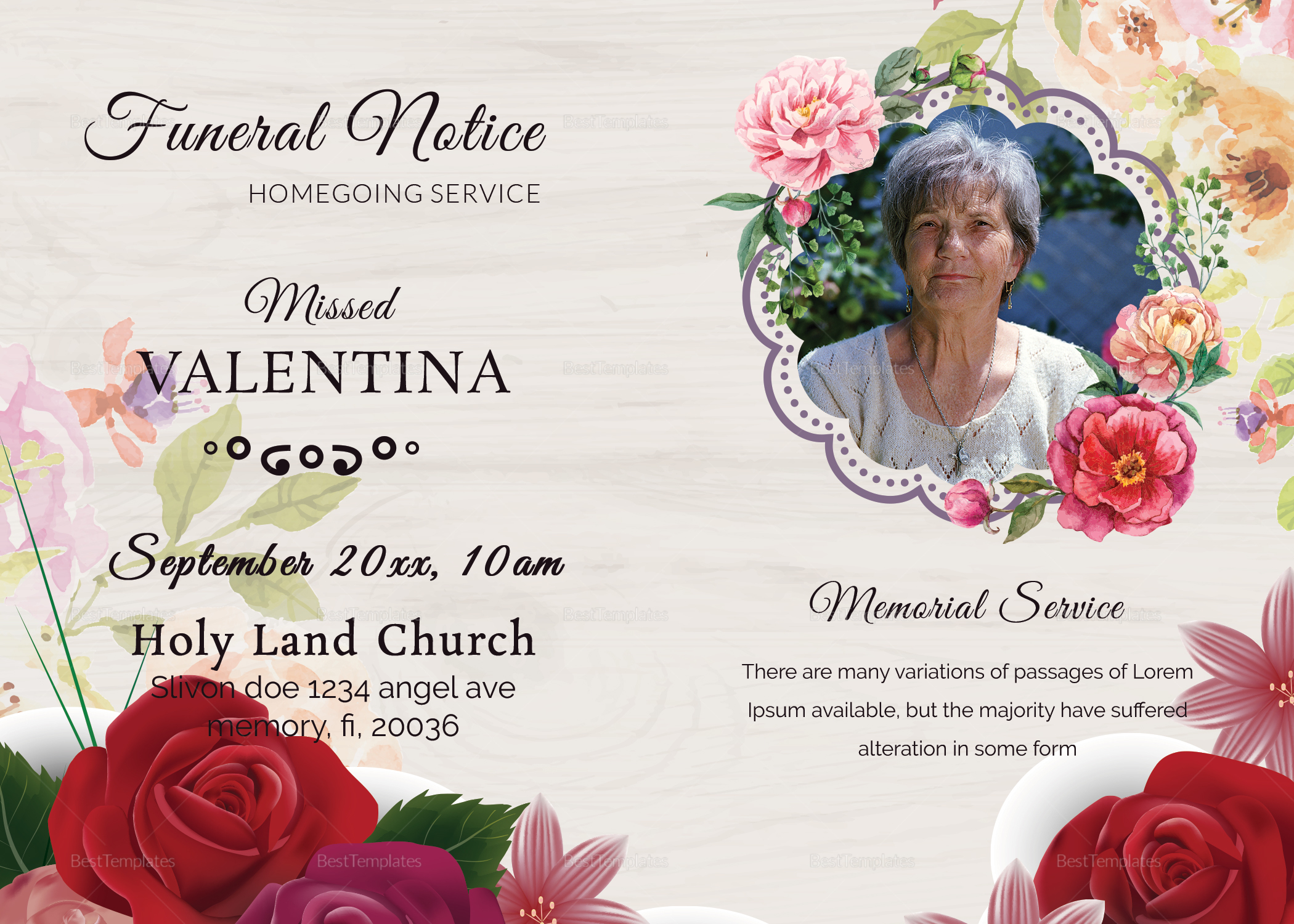 Home Going Funeral Death Notice