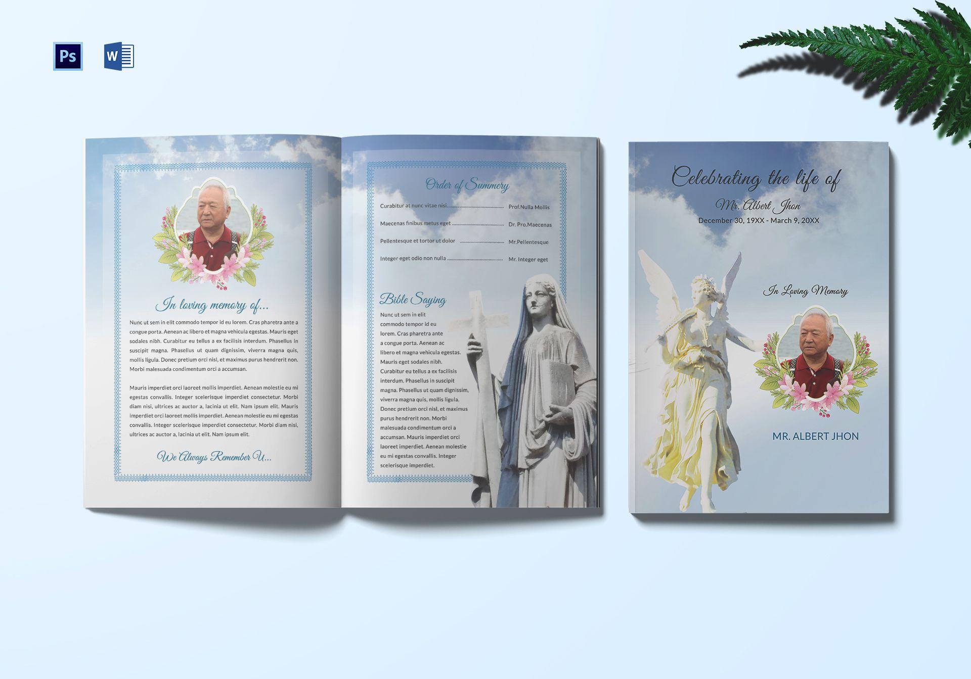 Funeral Program Bi Fold Template