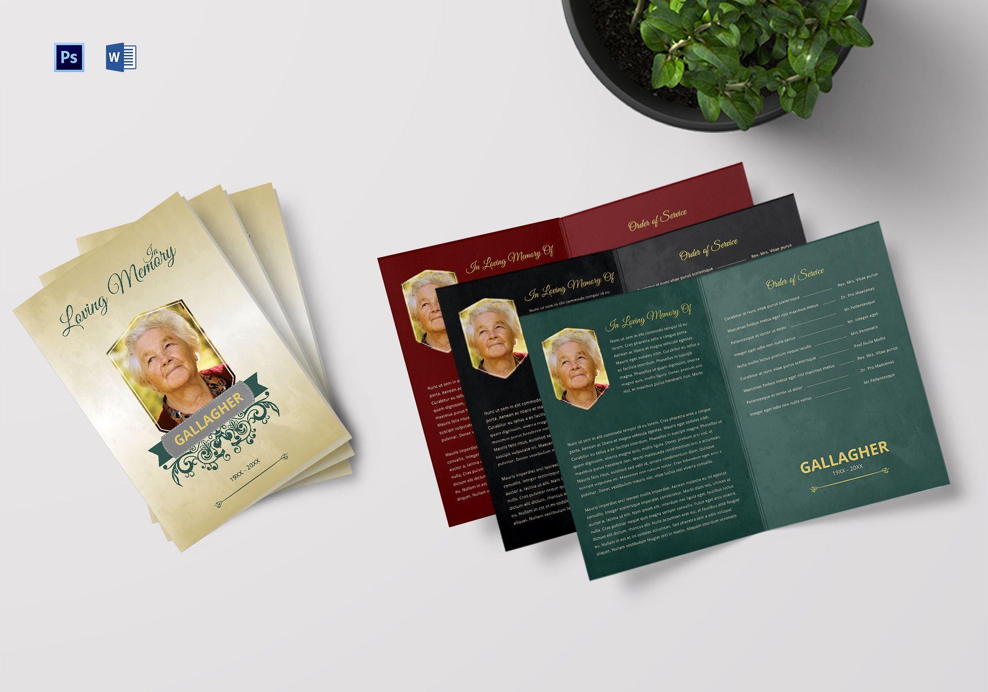 Funeral A4 Bi-Fold Program