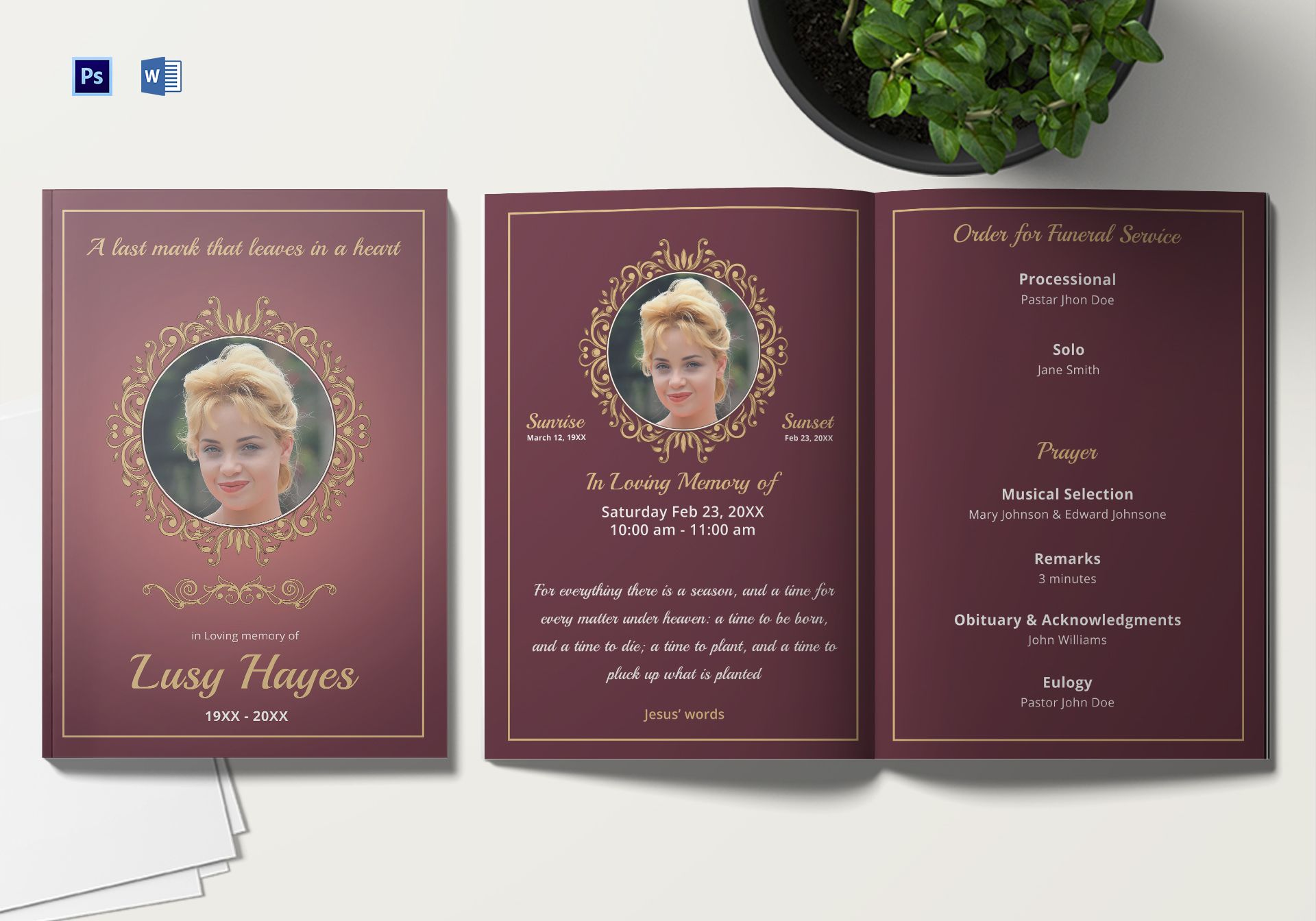 Memorial Service Funeral Brochure Template In Adobe Photoshop
